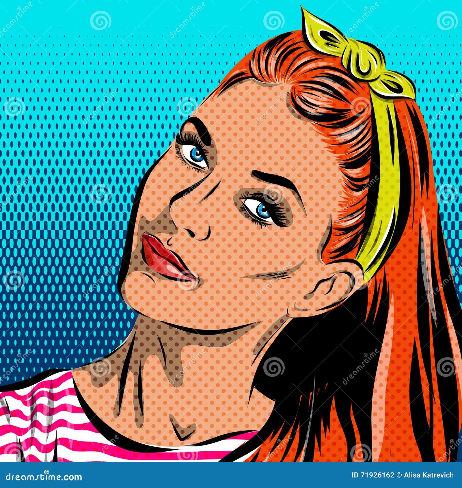 Женщина искусства шипучки - на предпосылке полька-точек вектор