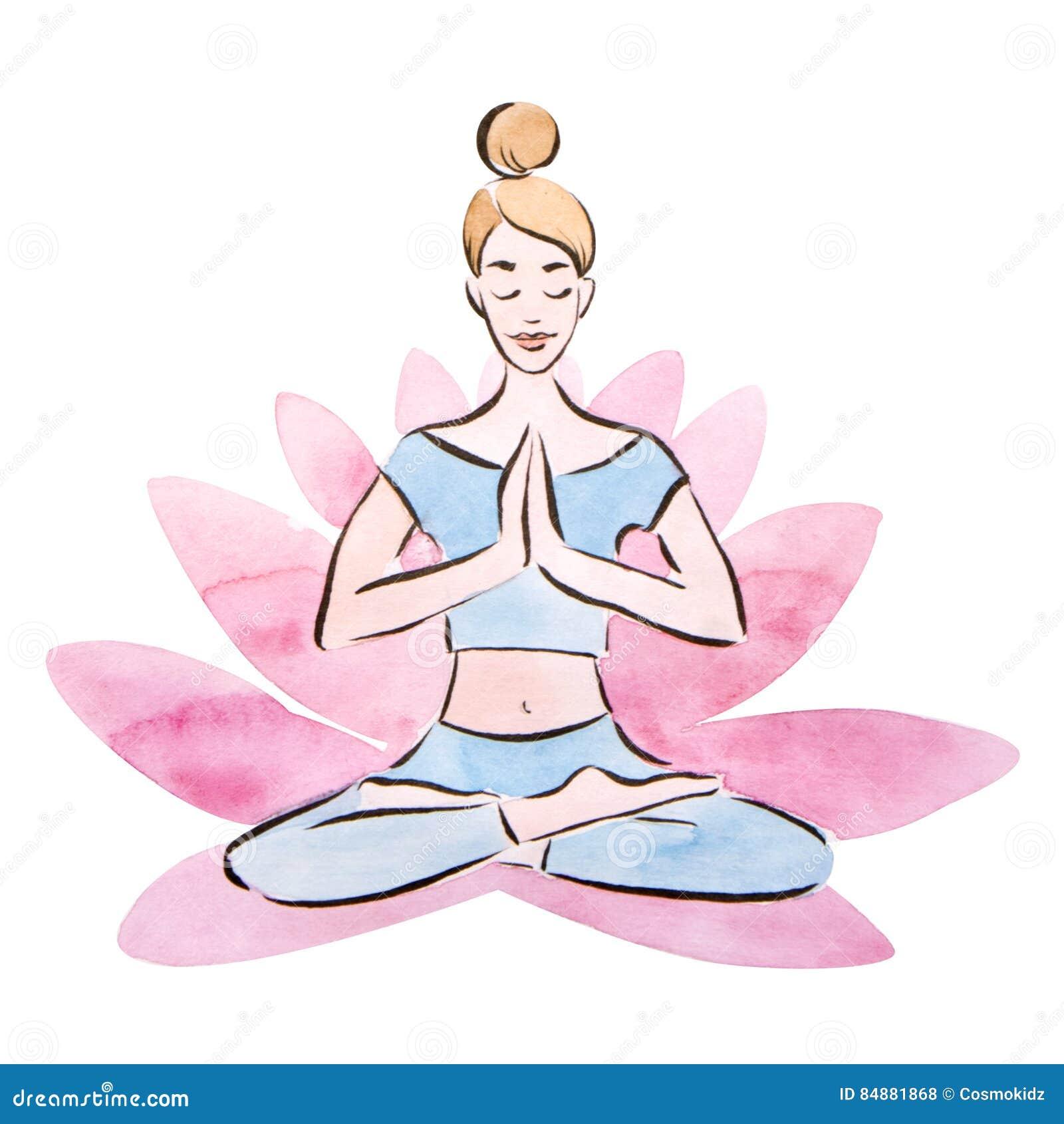 Женщина йоги, представление в гигантский цветок лотоса, метод лотоса милой маленькой девочки практикуя акварели