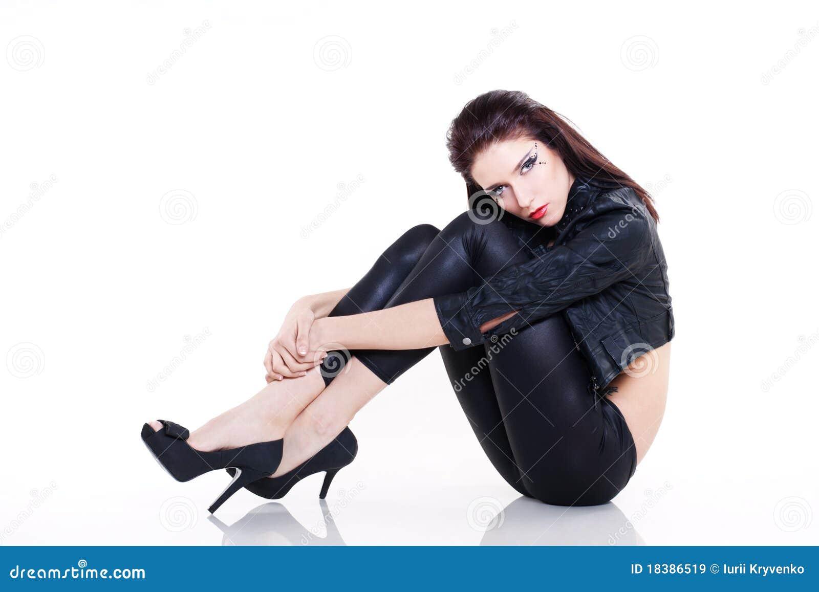 женщина кожи куртки брюнет сексуальная