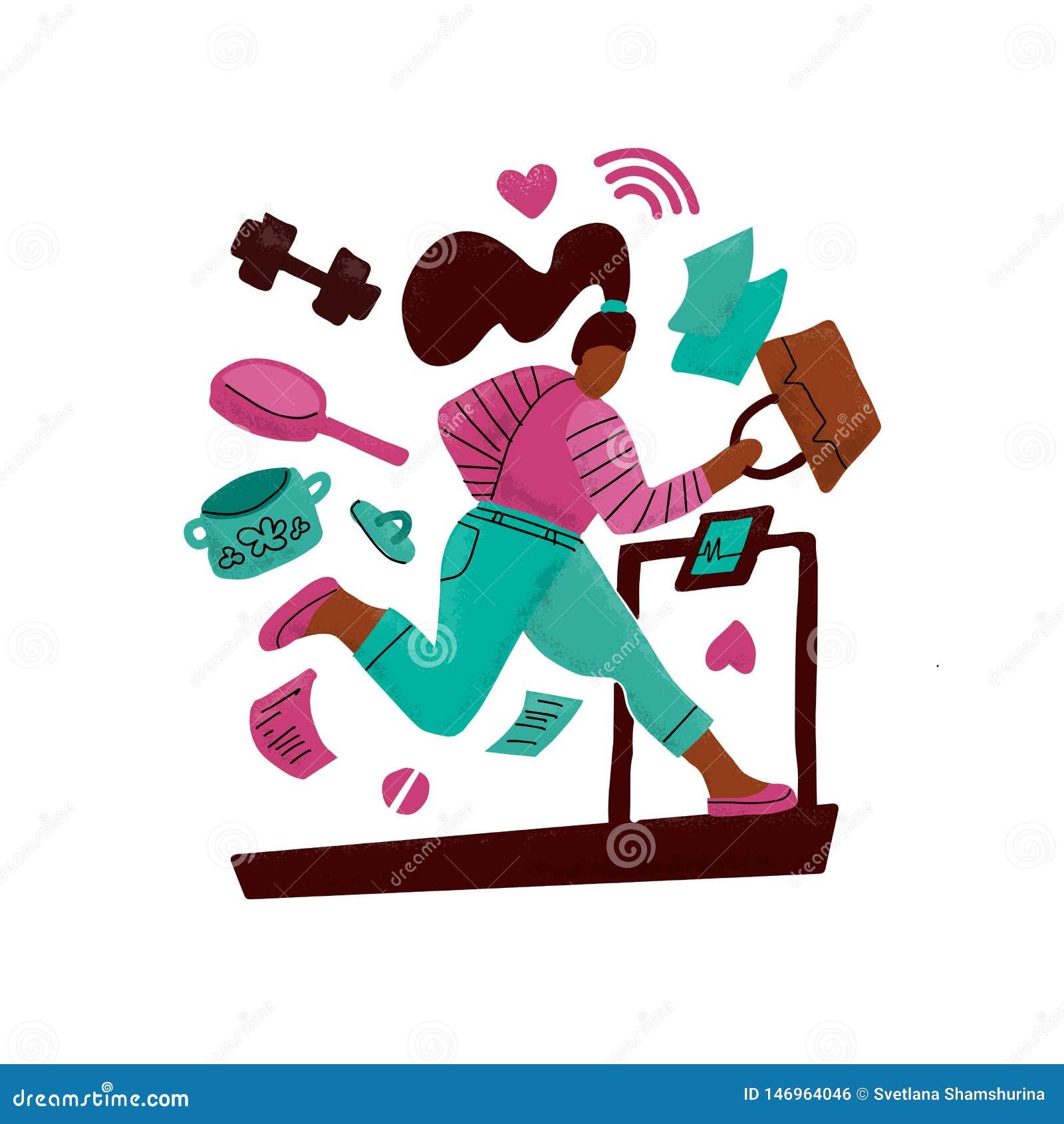 Женщина на бегах третбана далеко от проблем Девушка окруженная рутинными работами по дому Концепция трудной деятельности multitas