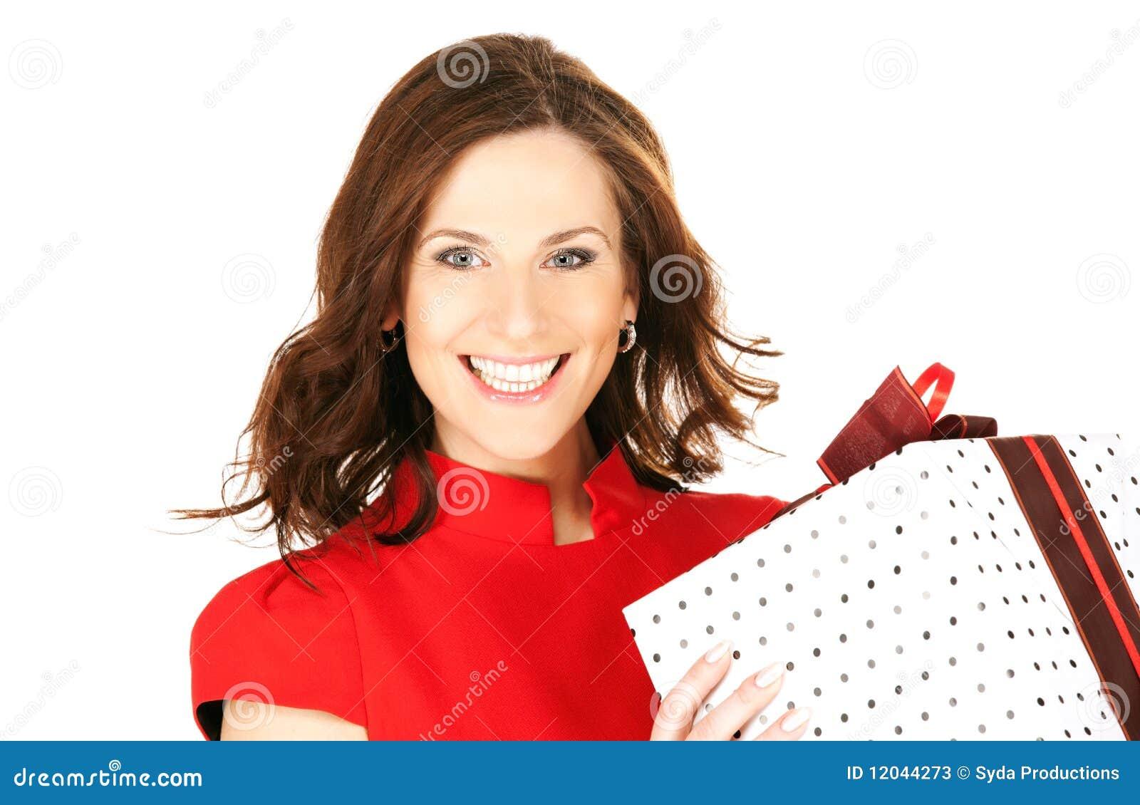 женщина подарка коробки счастливая