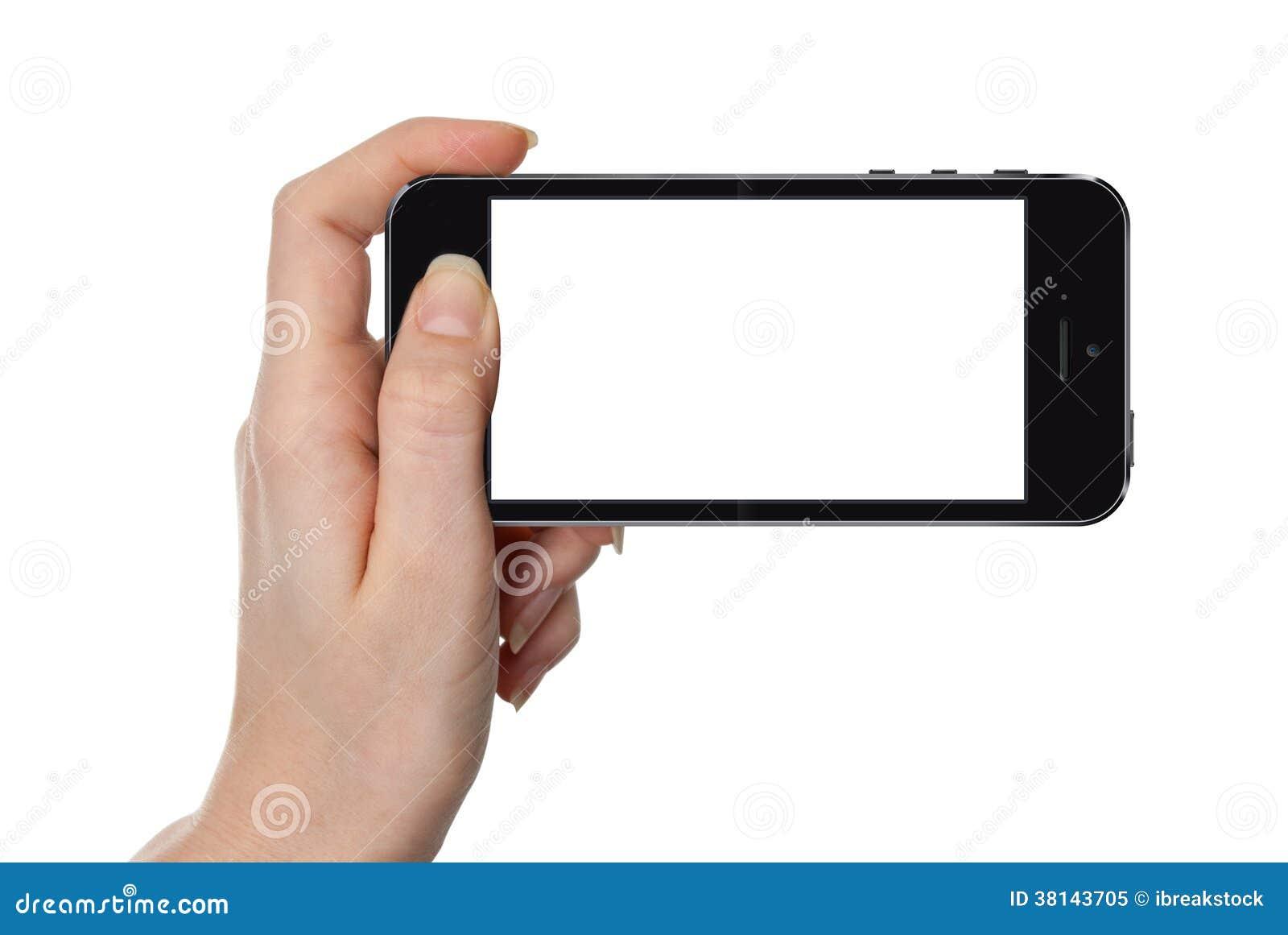 Женщина показывая умный телефон изолированный на белизне