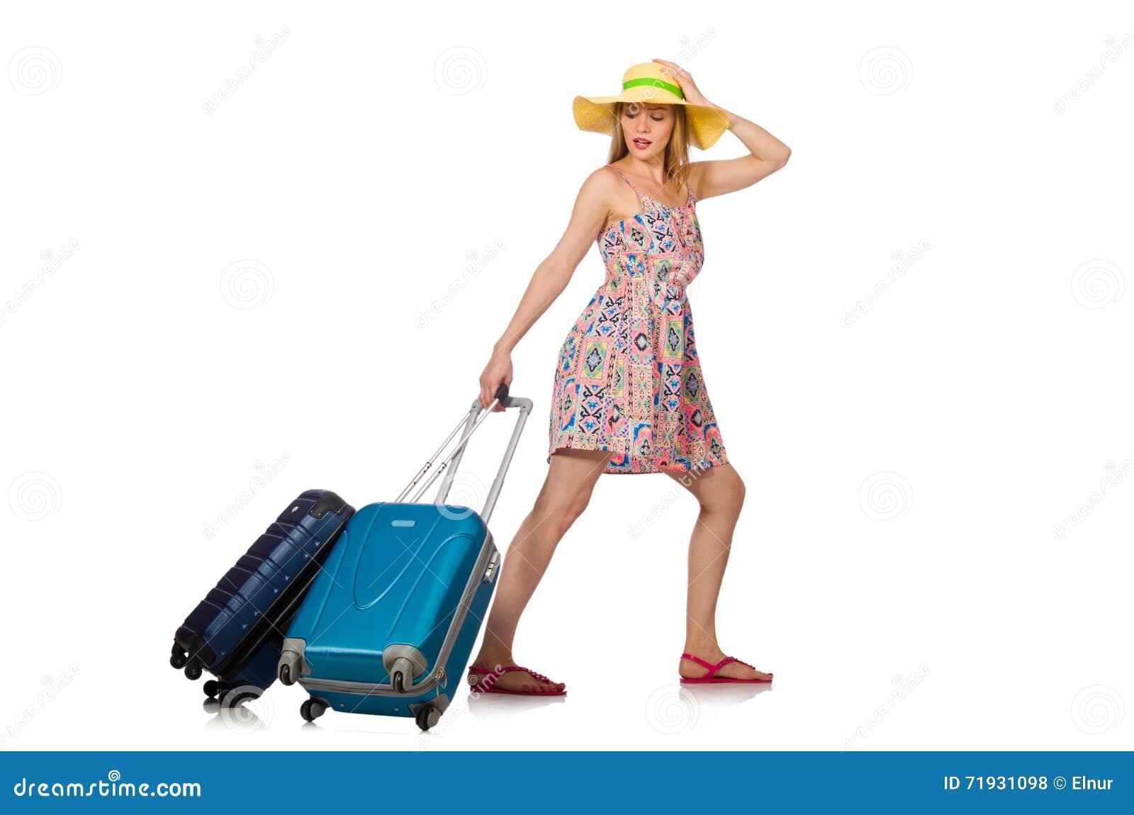 Женщина при чемодан изолированный на белизне