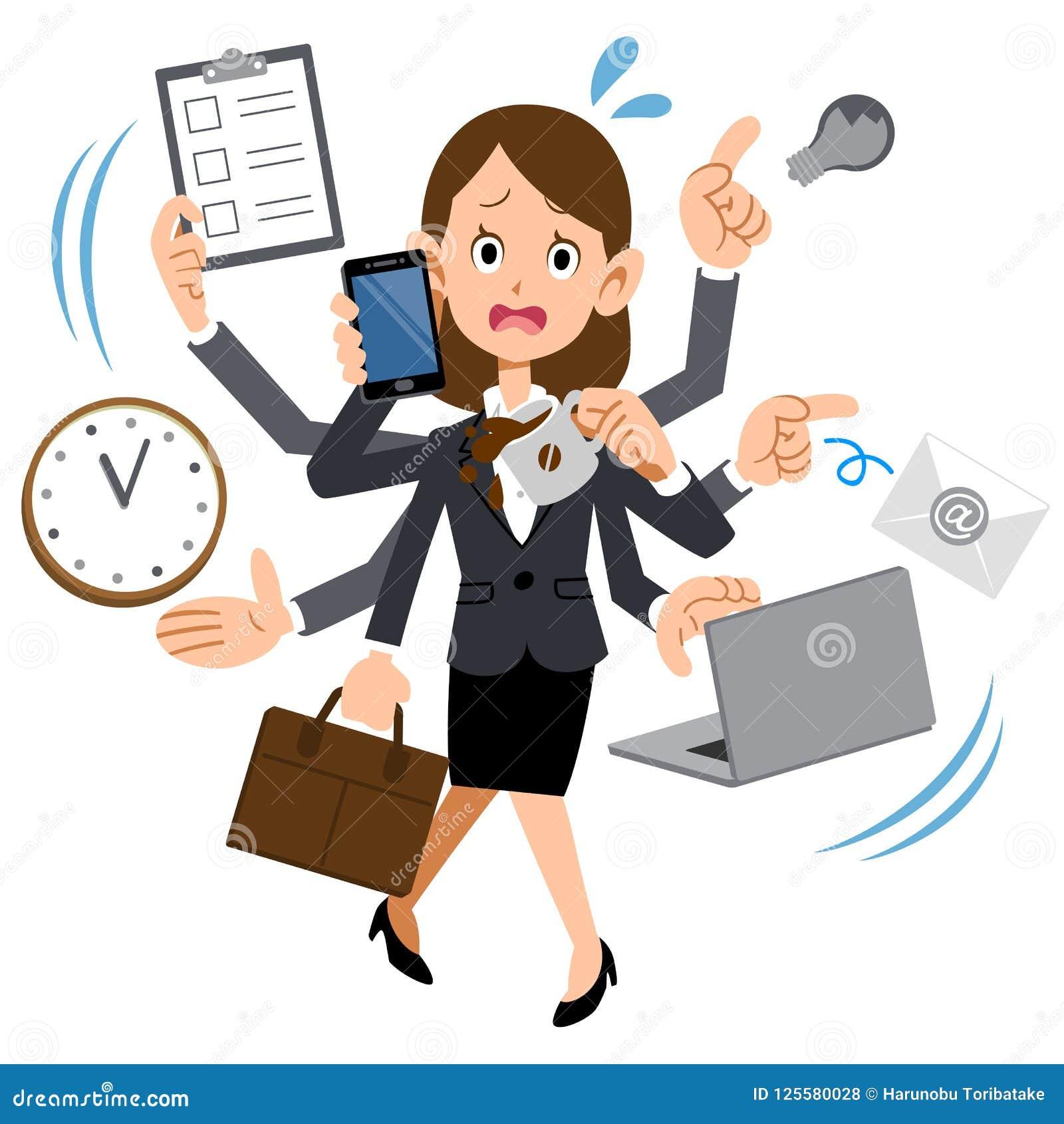 Женщина работая на компании которая слишком занятый