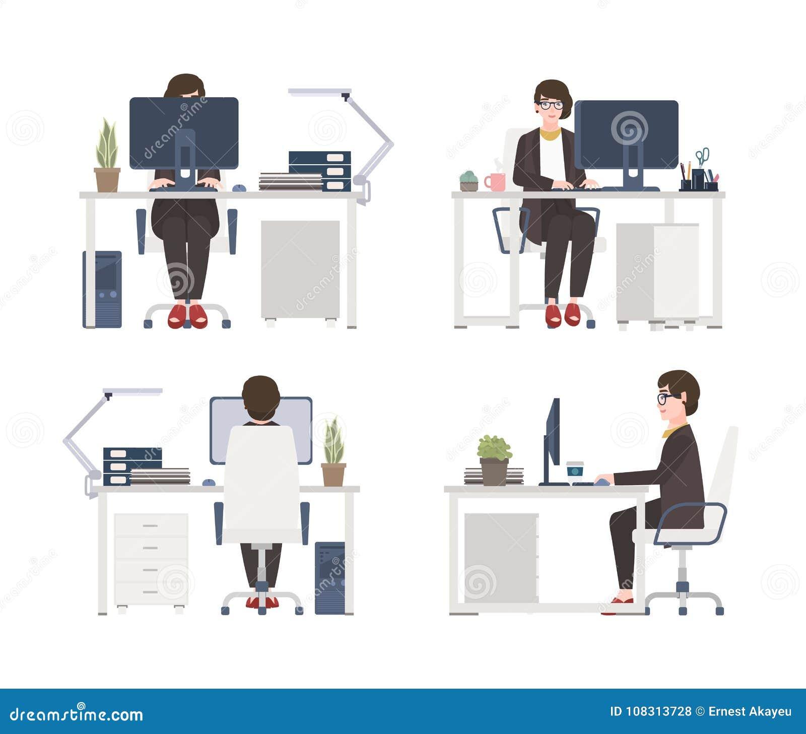 Женщина работая на компьютере Женские работник офиса, секретарша или ассистент сидя в стуле на столе плоский персонаж из мультфил