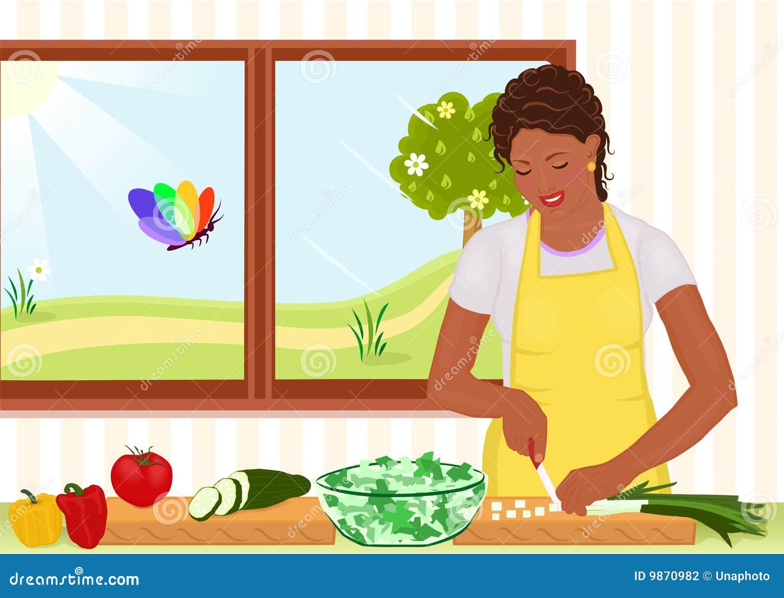 женщина салата афроамериканца красивейшая подготовляя