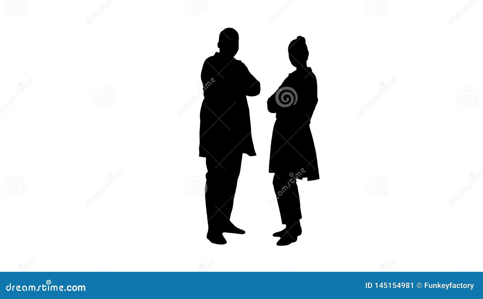 Доктора женщины и человека силуэта с пересеченными оружиями