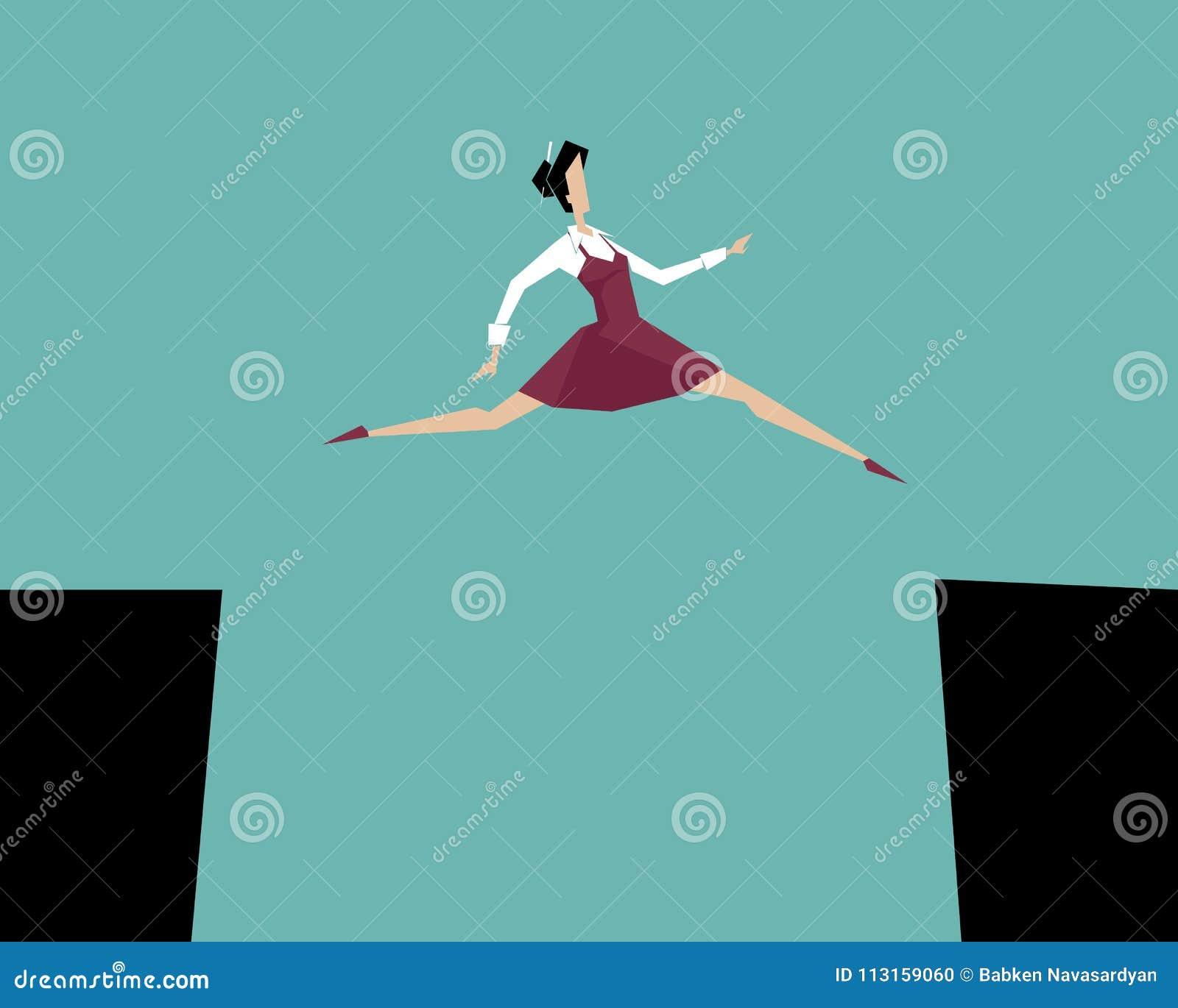 Женщина скача над скалой