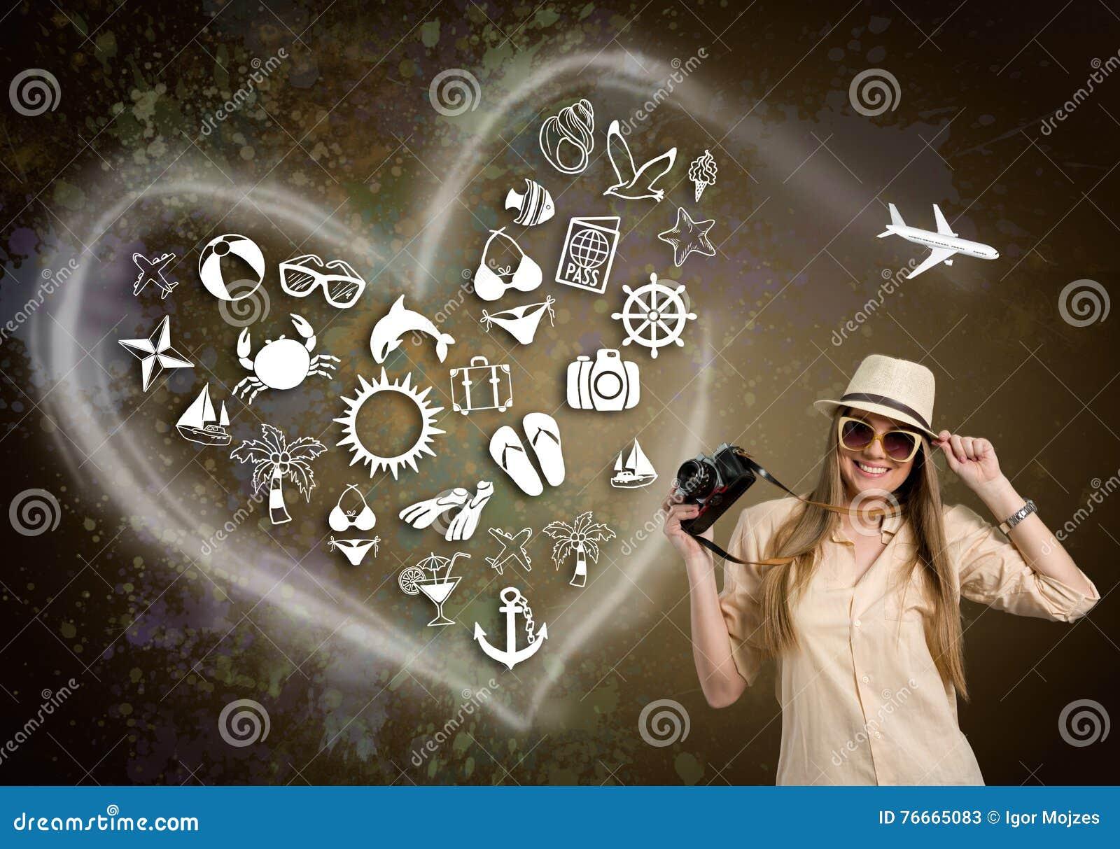 Женщина с камерой фото и проиллюстрированным значком праздника