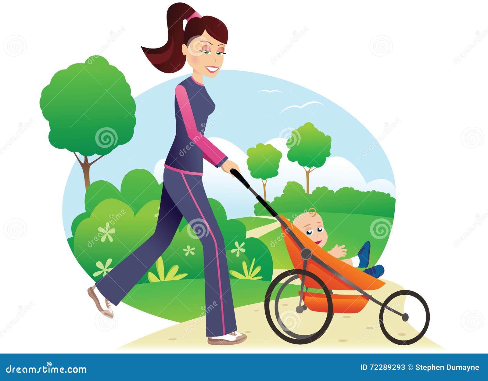 Download Женщина с Babystroller в парке Иллюстрация вектора - иллюстрации насчитывающей jogger, пригонка: 72289293