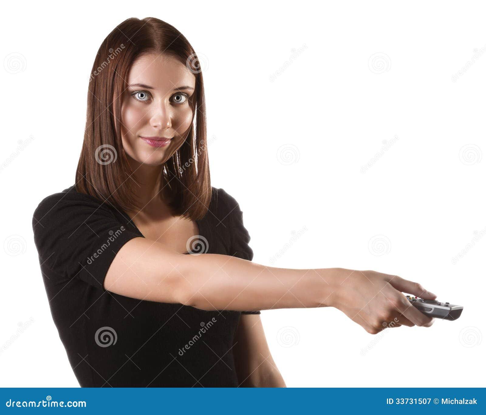 Женщина с remote