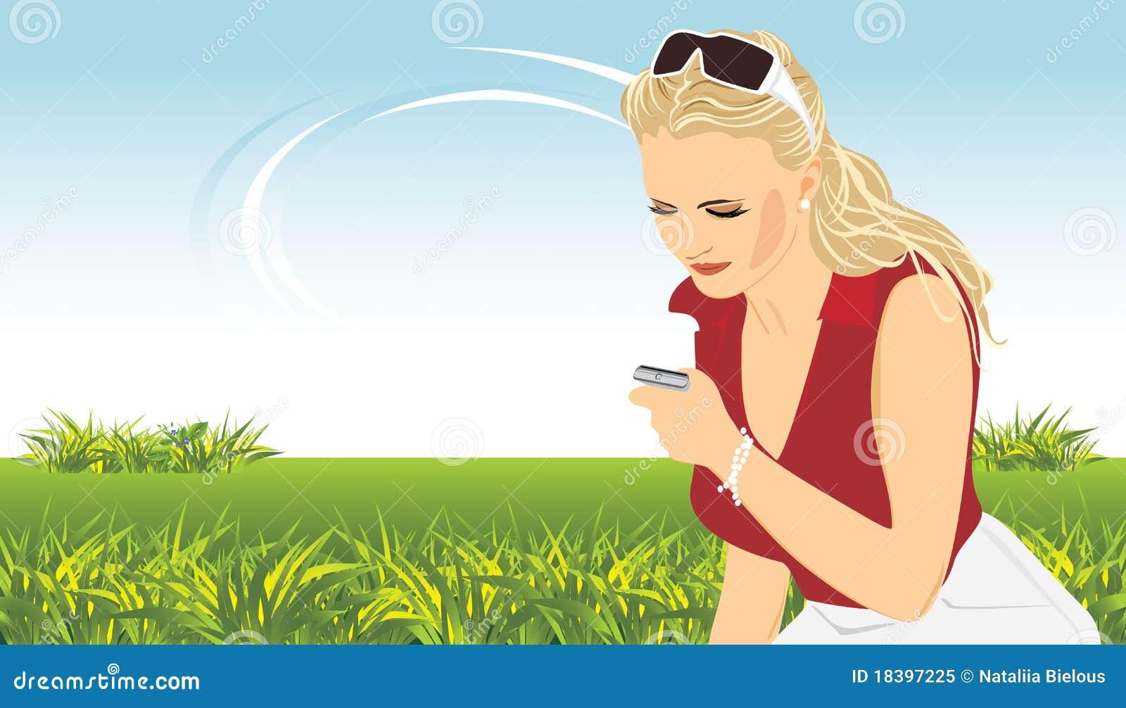 женщина телефона весны состава передвижная