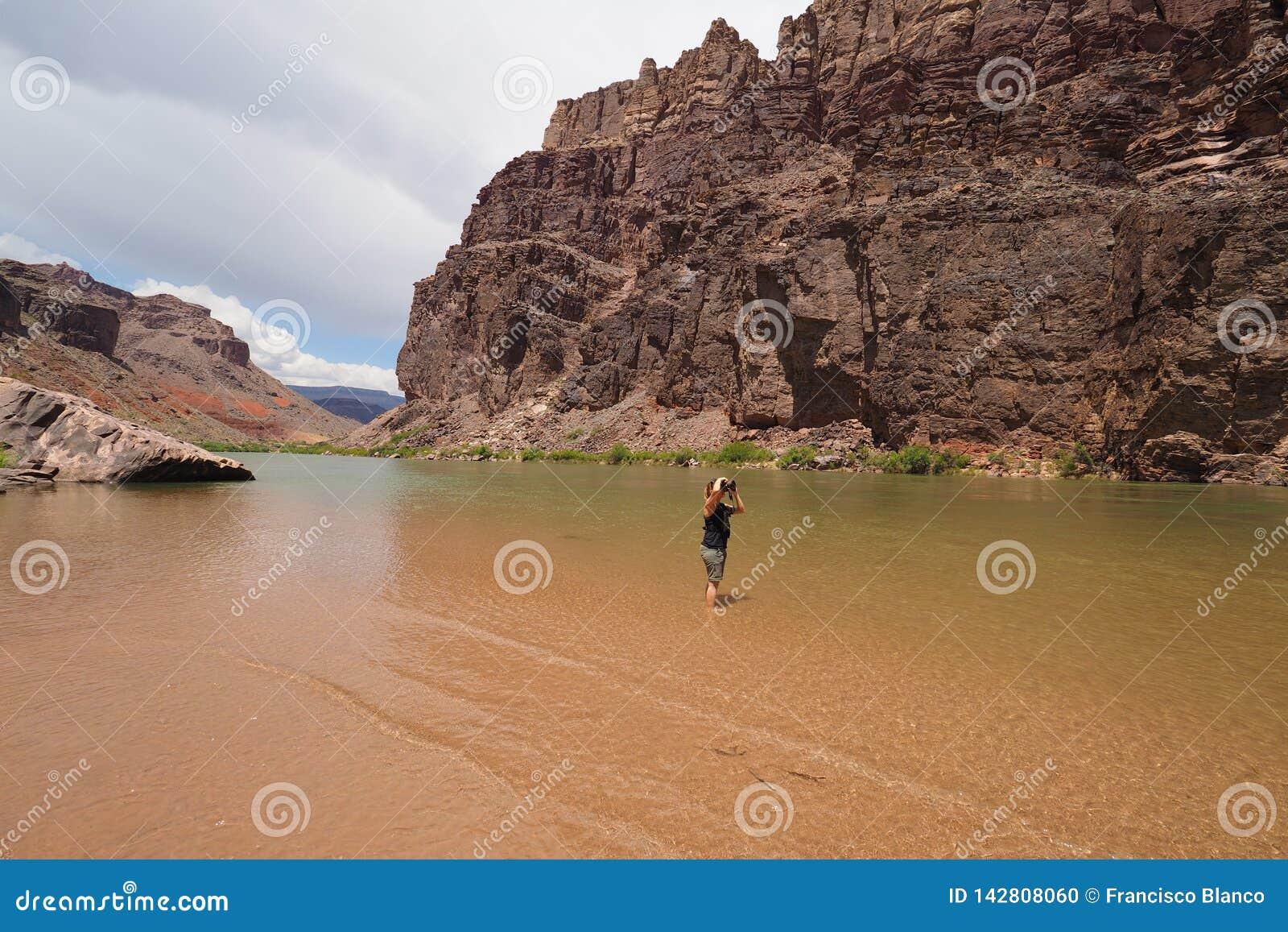 Женщина фотографируя реку Colrado и внутренний каньон в гранд-каньоне