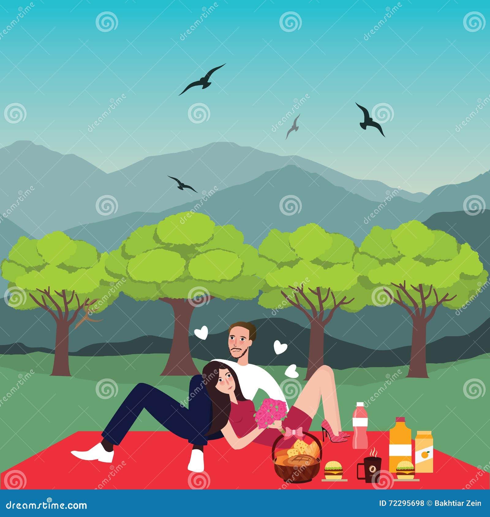 Download Женщина человека пикника пар в датировка парка внешнем приносит корзину еды Иллюстрация вектора - иллюстрации насчитывающей корзины, подруга: 72295698