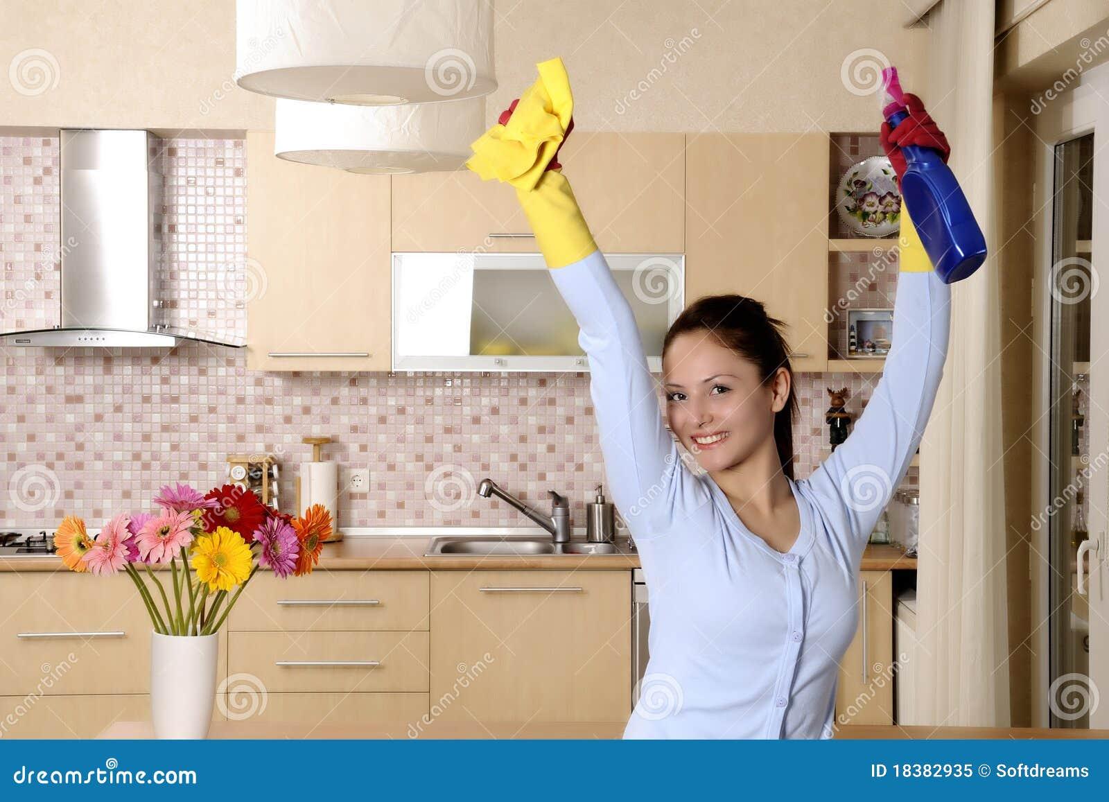 женщины дома красивейшей чистки счастливые