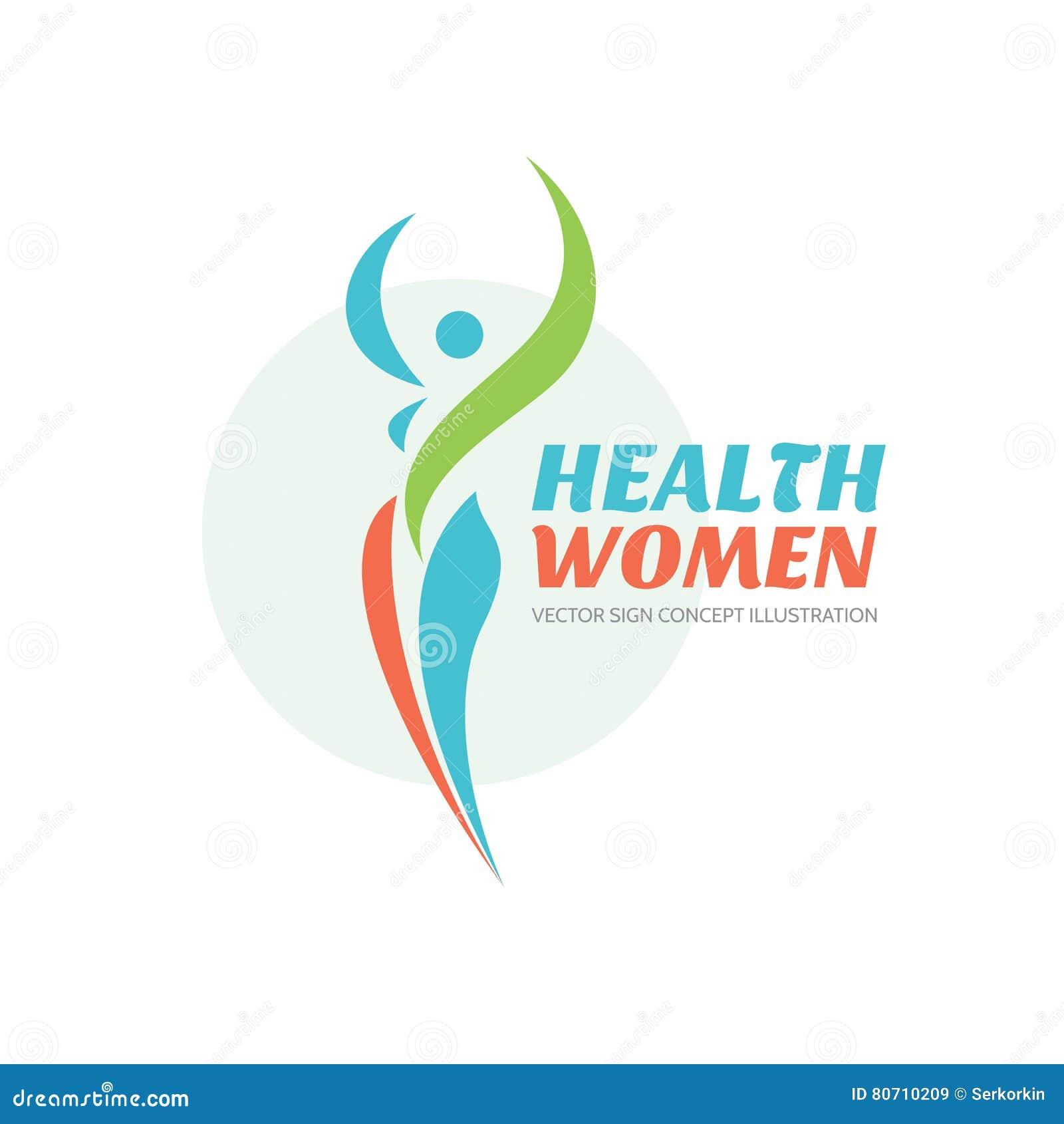 Женщины здоровья - шаблон логотипа вектора здоровый знак Символ салона красоты Иллюстрация концепции женщины фитнеса человеческий