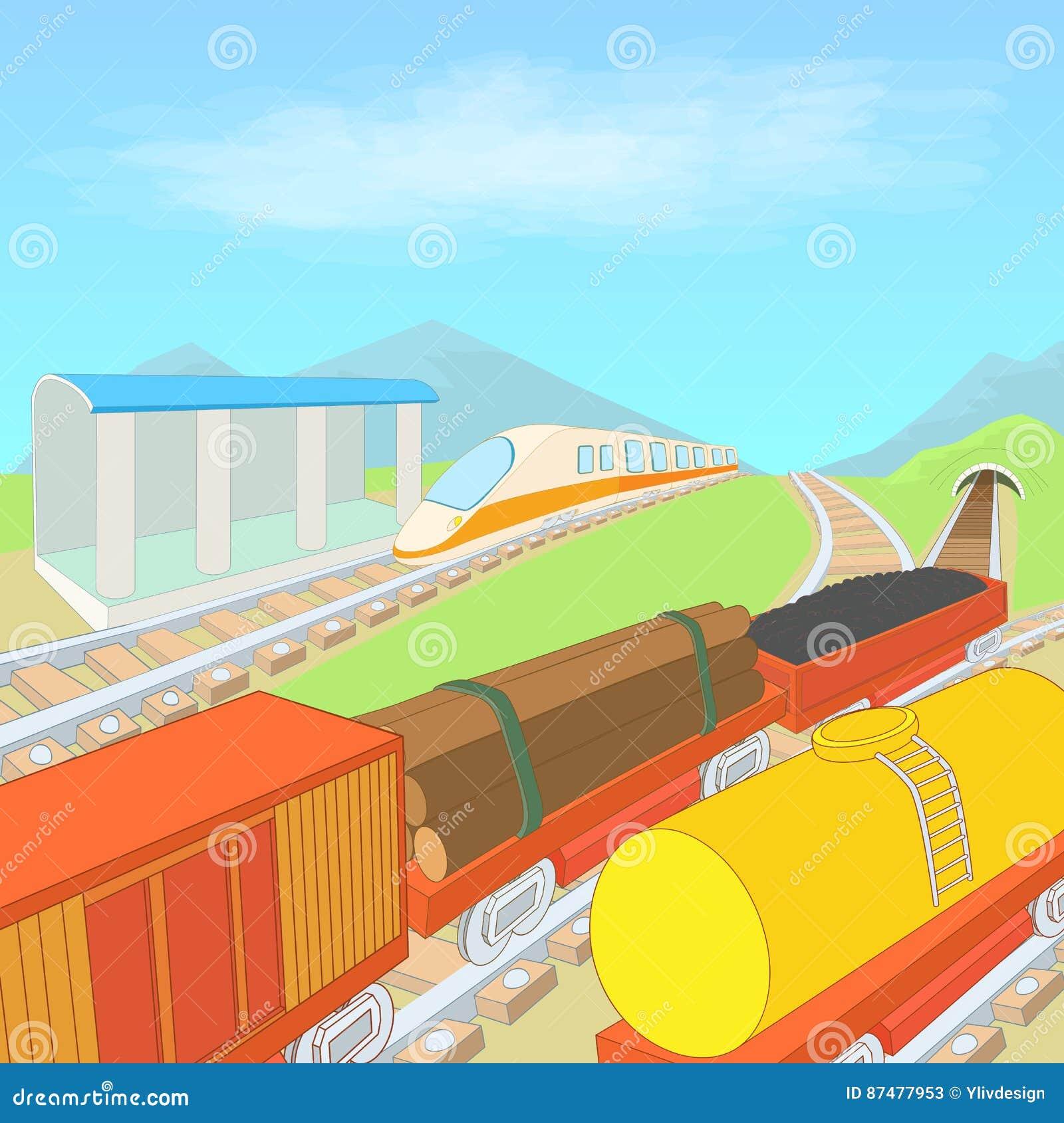 Железнодорожная концепция, стиль шаржа