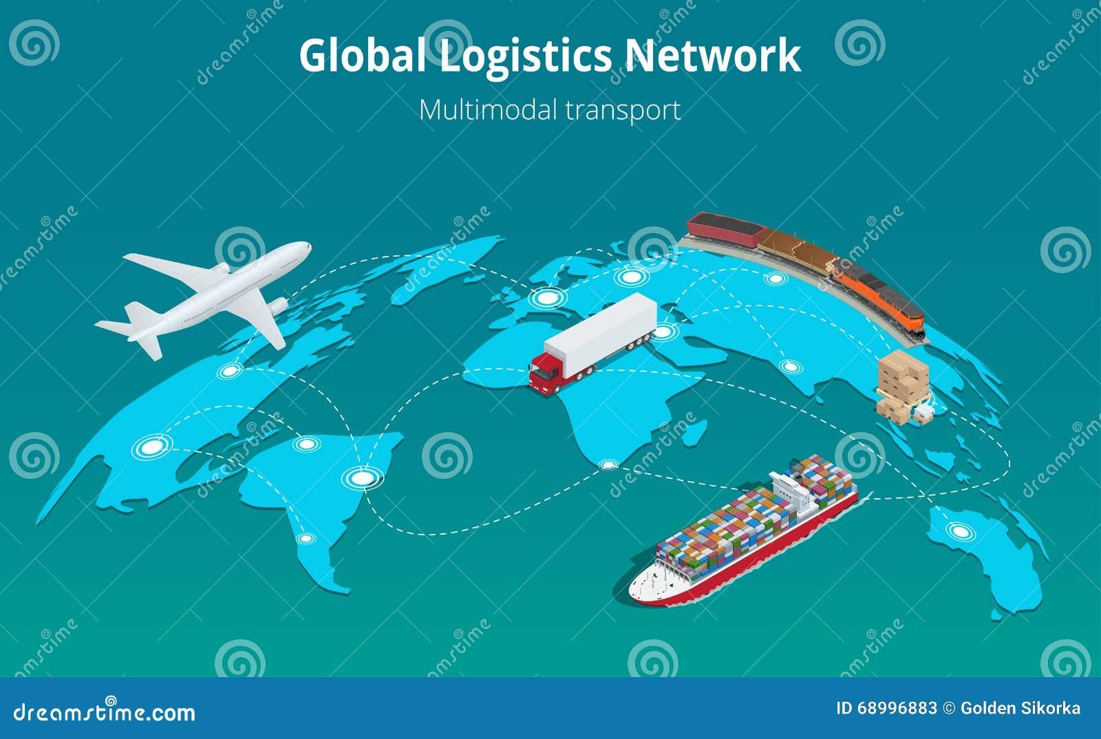 Железнодорожные перевозки глобального авиационного груза иллюстрации вектора 3d концепции вебсайта сети снабжения плоского равнов