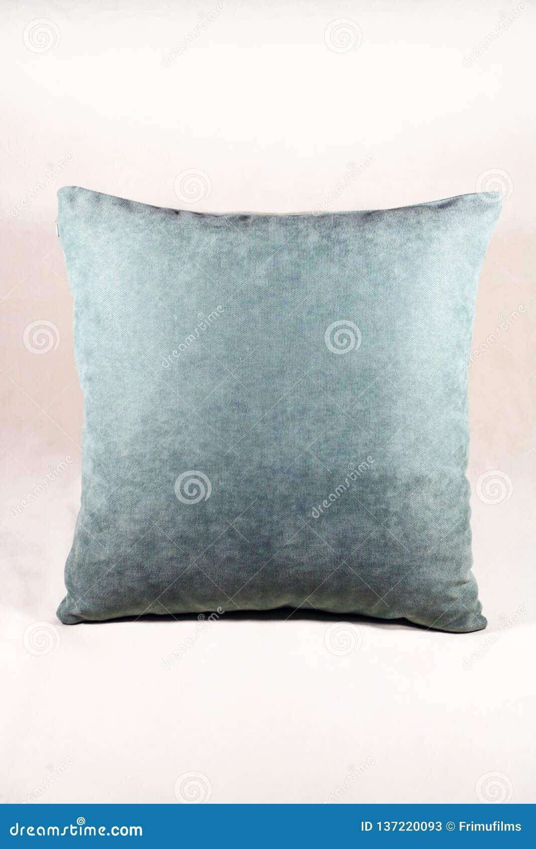 Живая подушка teal на белой предпосылке бархата