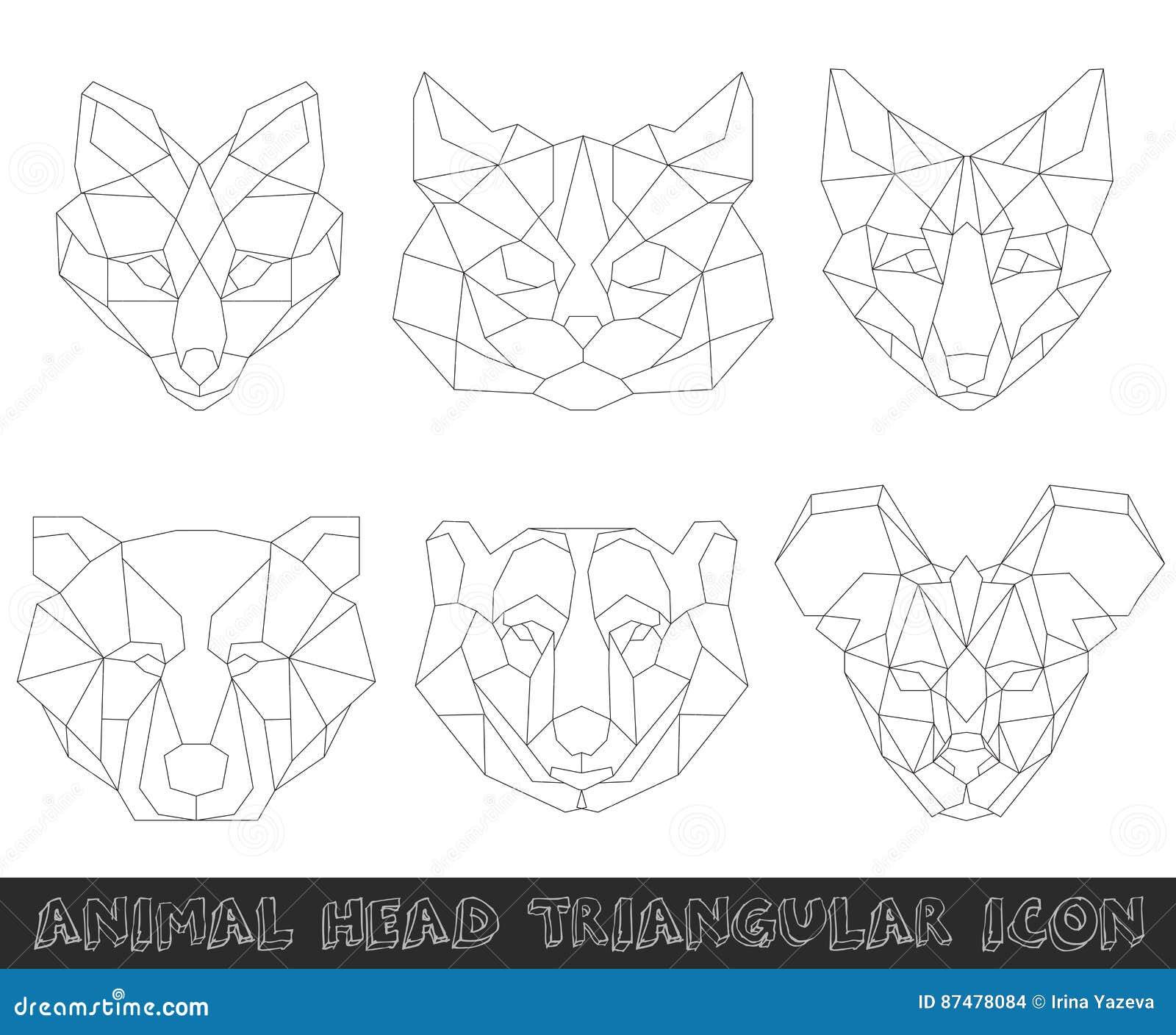 Животная головная триангулярная значок-геометрическая линия дизайн