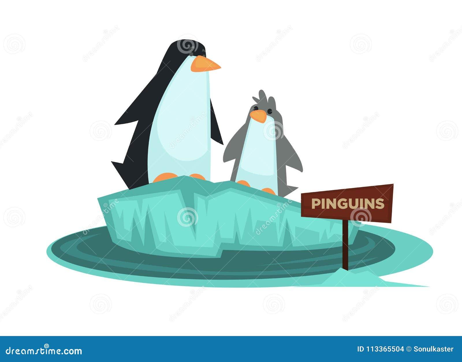 Животное зоопарка пингвина и деревянный шильдик vector значок шаржа для зоологического парка