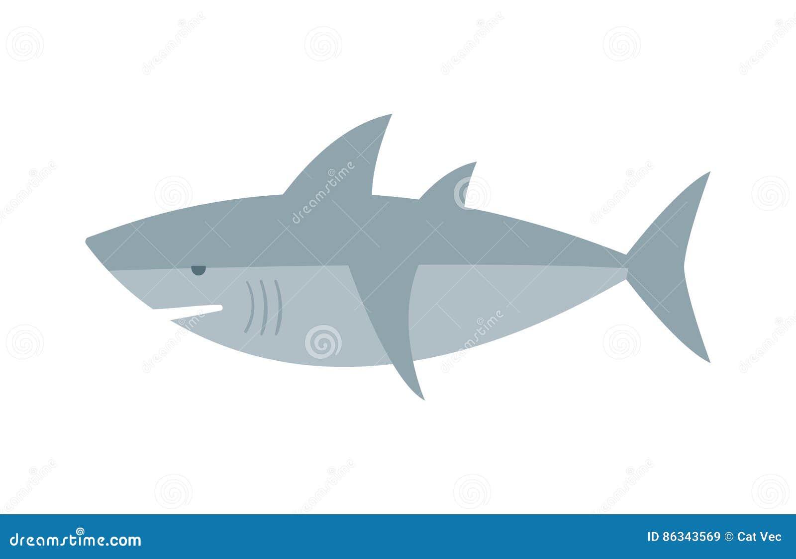 Животное рыб характера акулы вектора