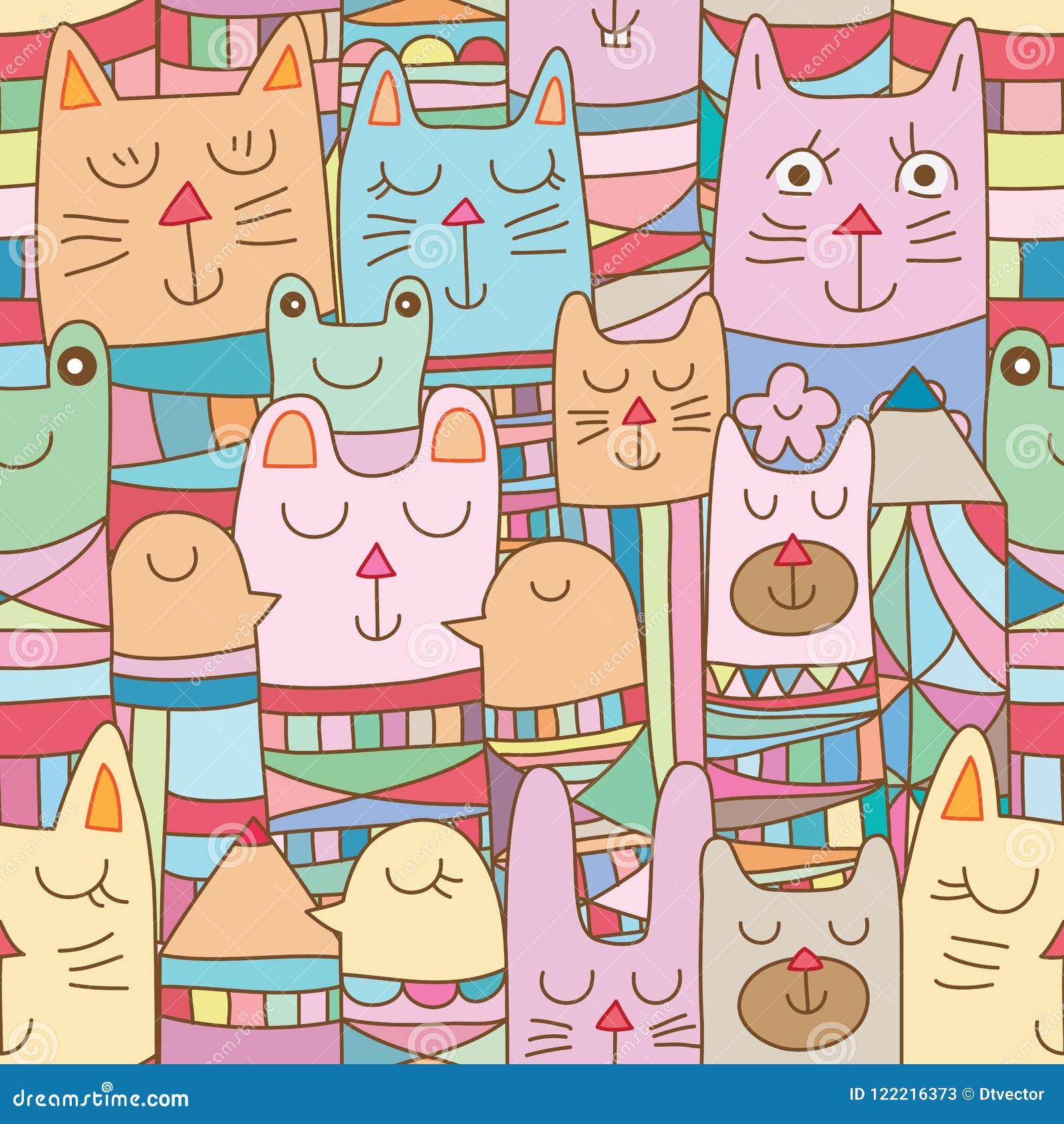Животное Kokeshi много безшовная картина