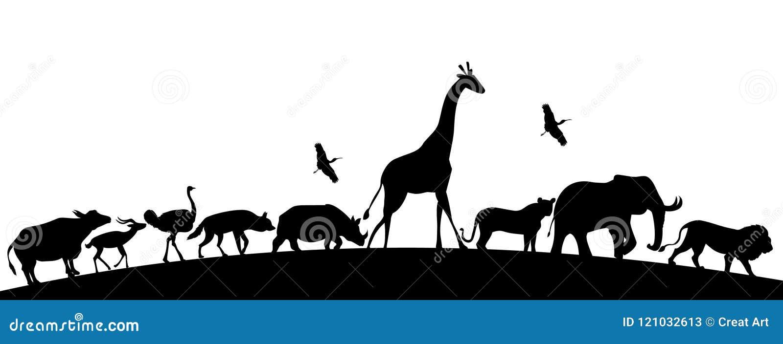Животное silhoutte, африканские животные, иллюстрация животных сафари