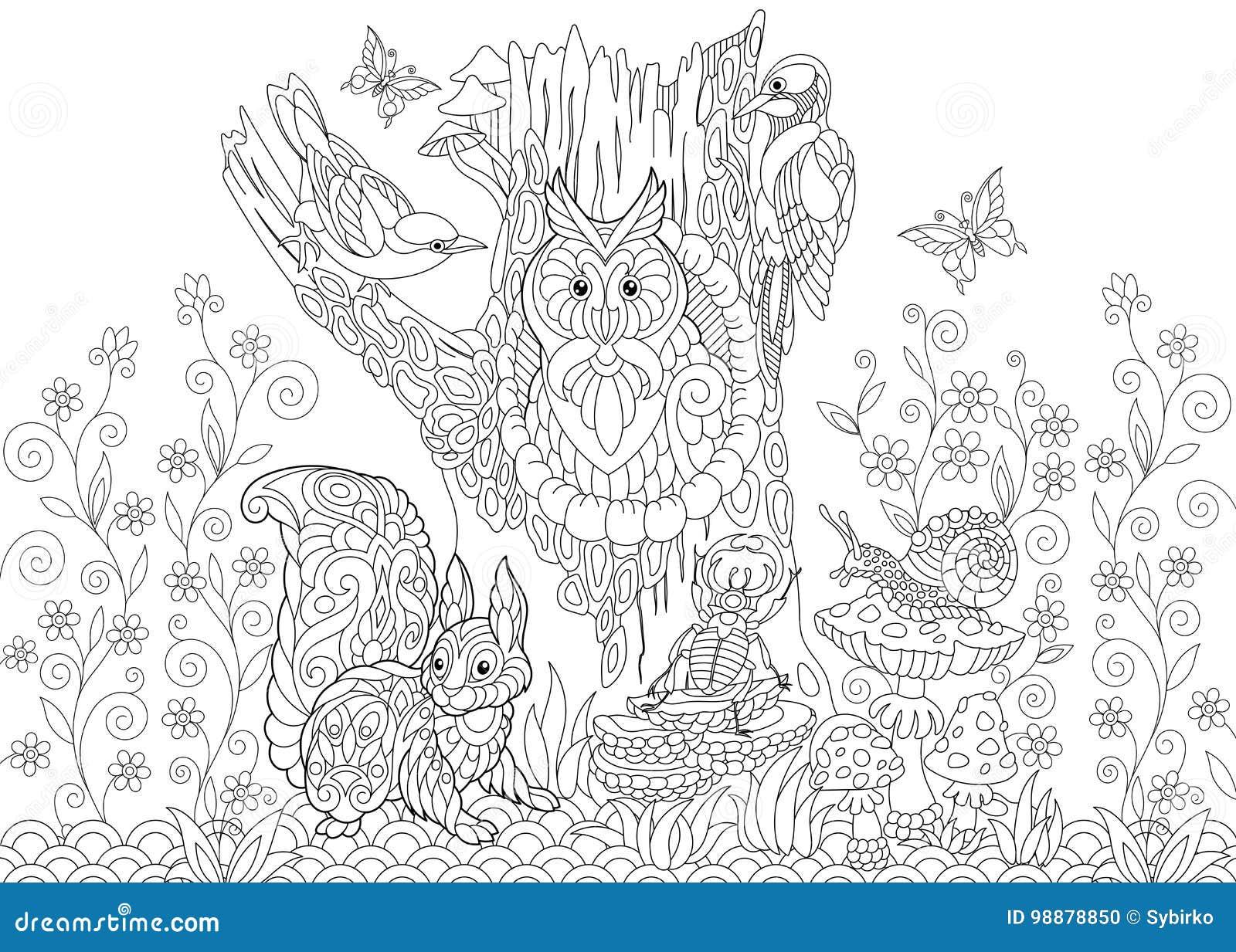 Животные леса Zentangle стилизованные