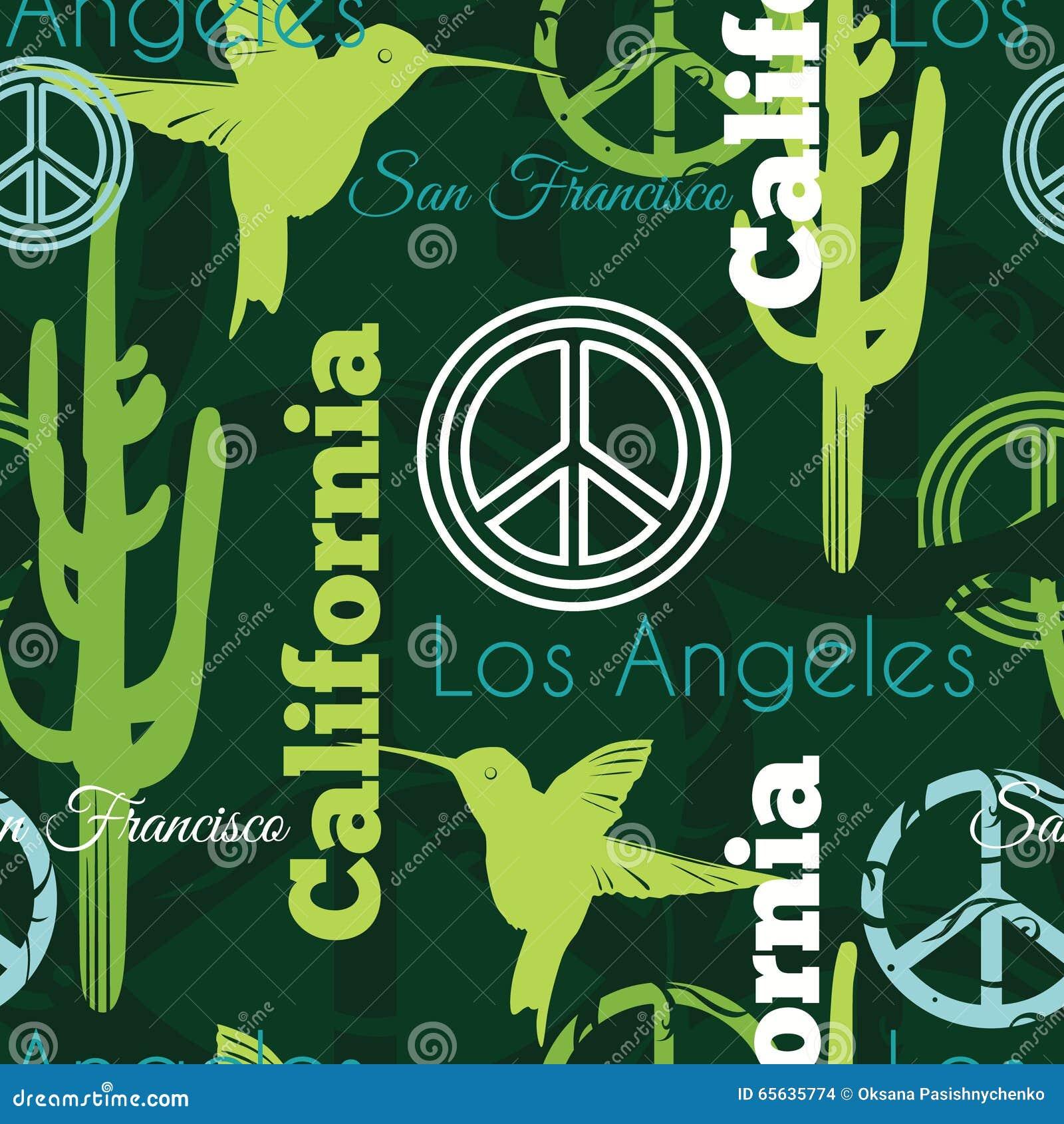 Животные Калифорнии вектора зеленые путешествуют безшовная картина с Лос-Анджелесом, Сан-Франциско, колибри, и символами мира