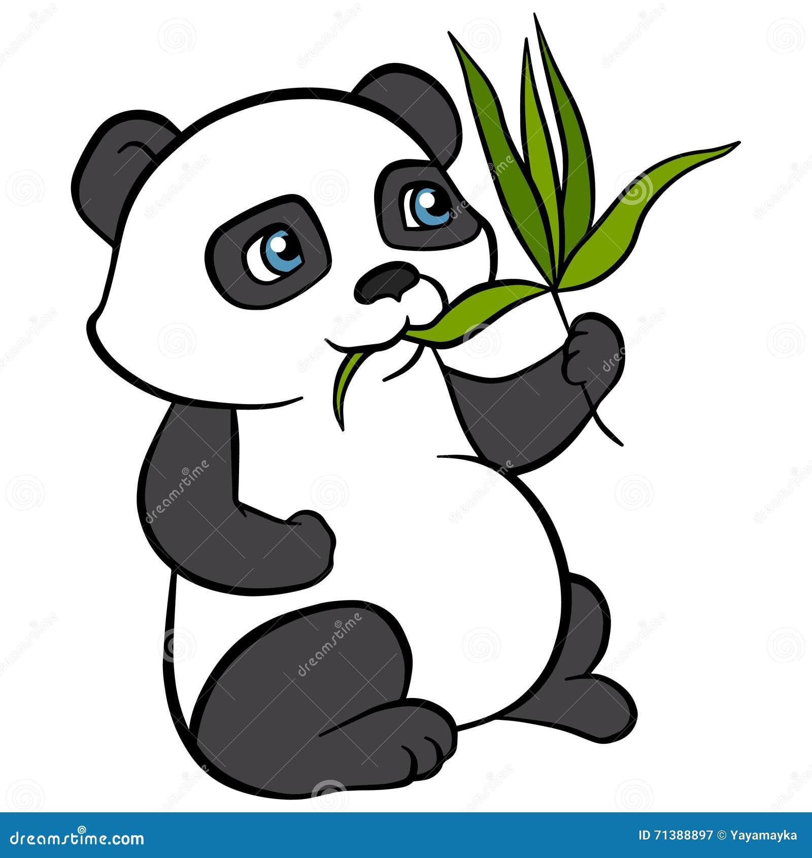 Животные шаржа для детей Маленькая милая панда ест листья