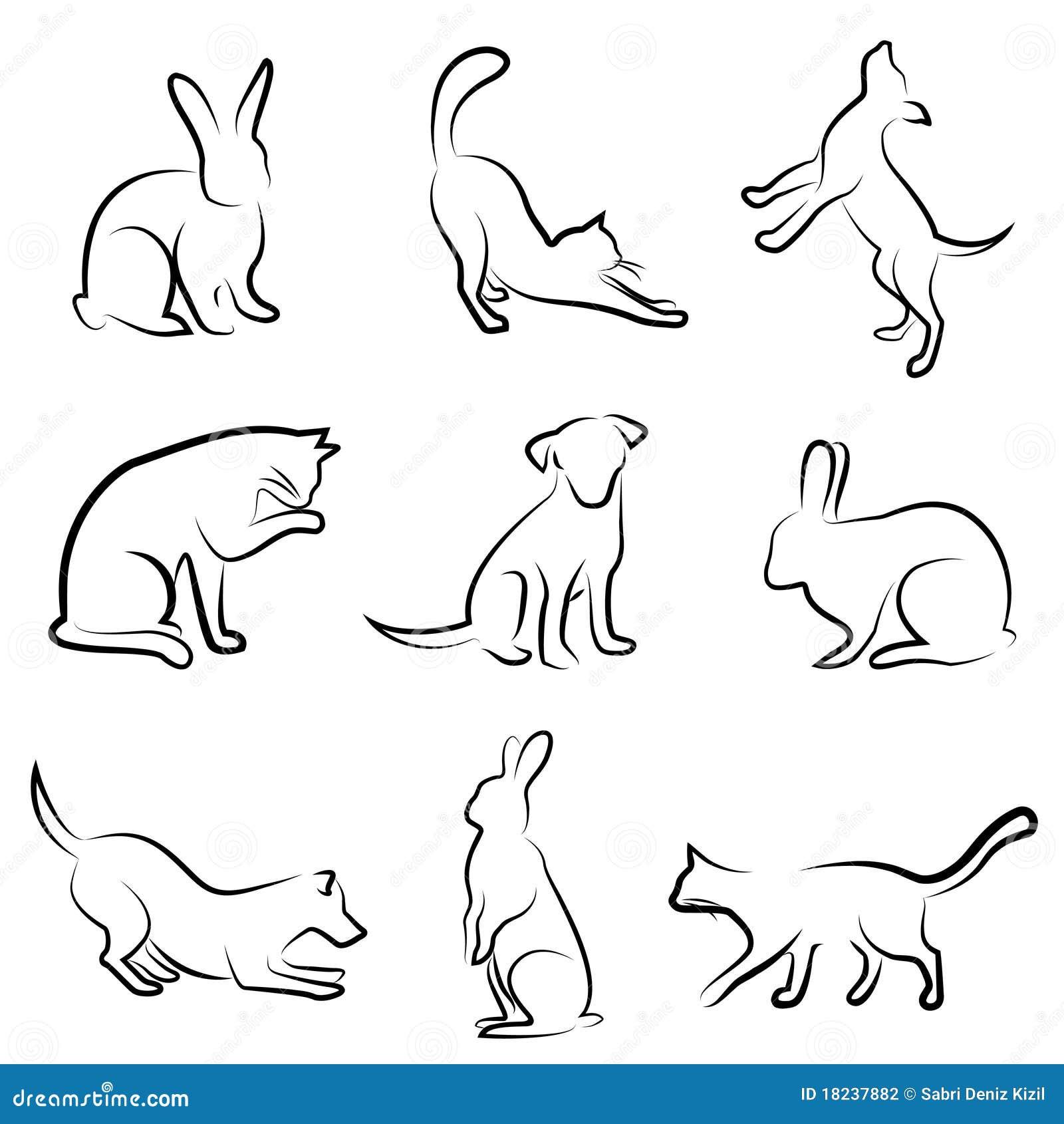 животный кролик чертежа собаки кота