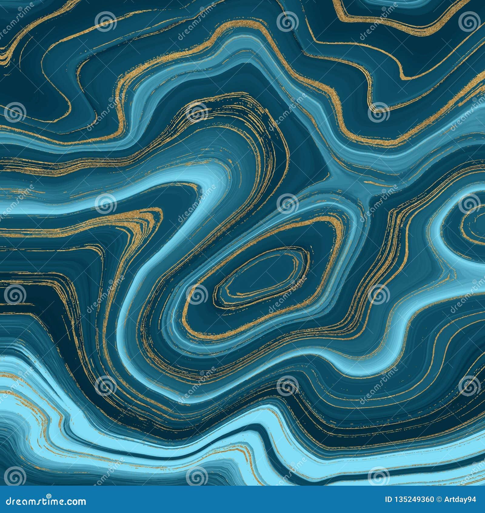 Жидкостная мраморная текстура Голубая и золотая картина конспекта картины чернил яркого блеска Ультрамодная предпосылка для обоев