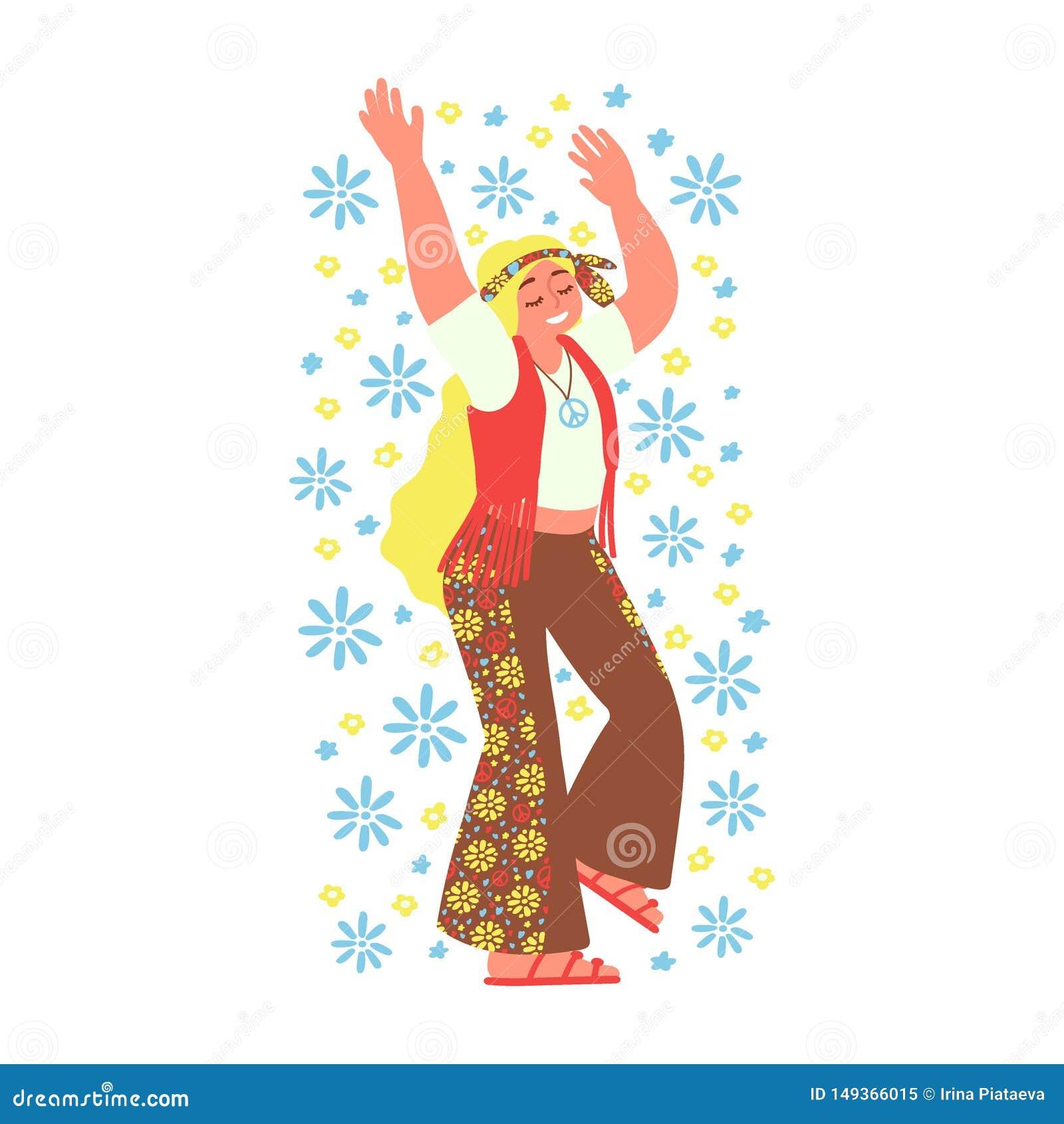 Жизнерадостная девушка hippie изолированная на белой предпосылке Субкультура r