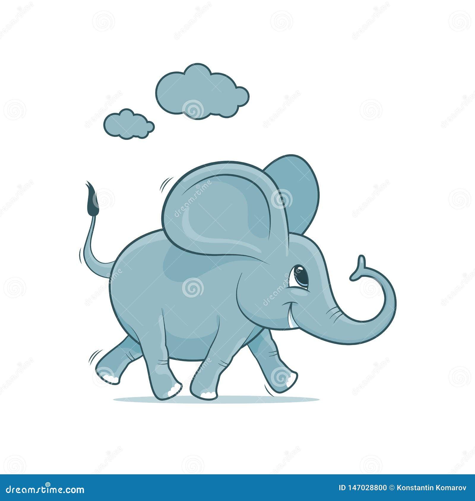 Жизнерадостный слон младенца в голубых бегах на белой предпосылке, иллюстрации вектора