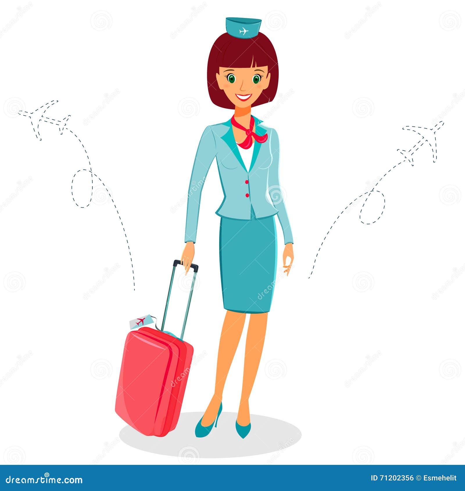 Жизнерадостная стюардесса шаржа в форме с чемоданом