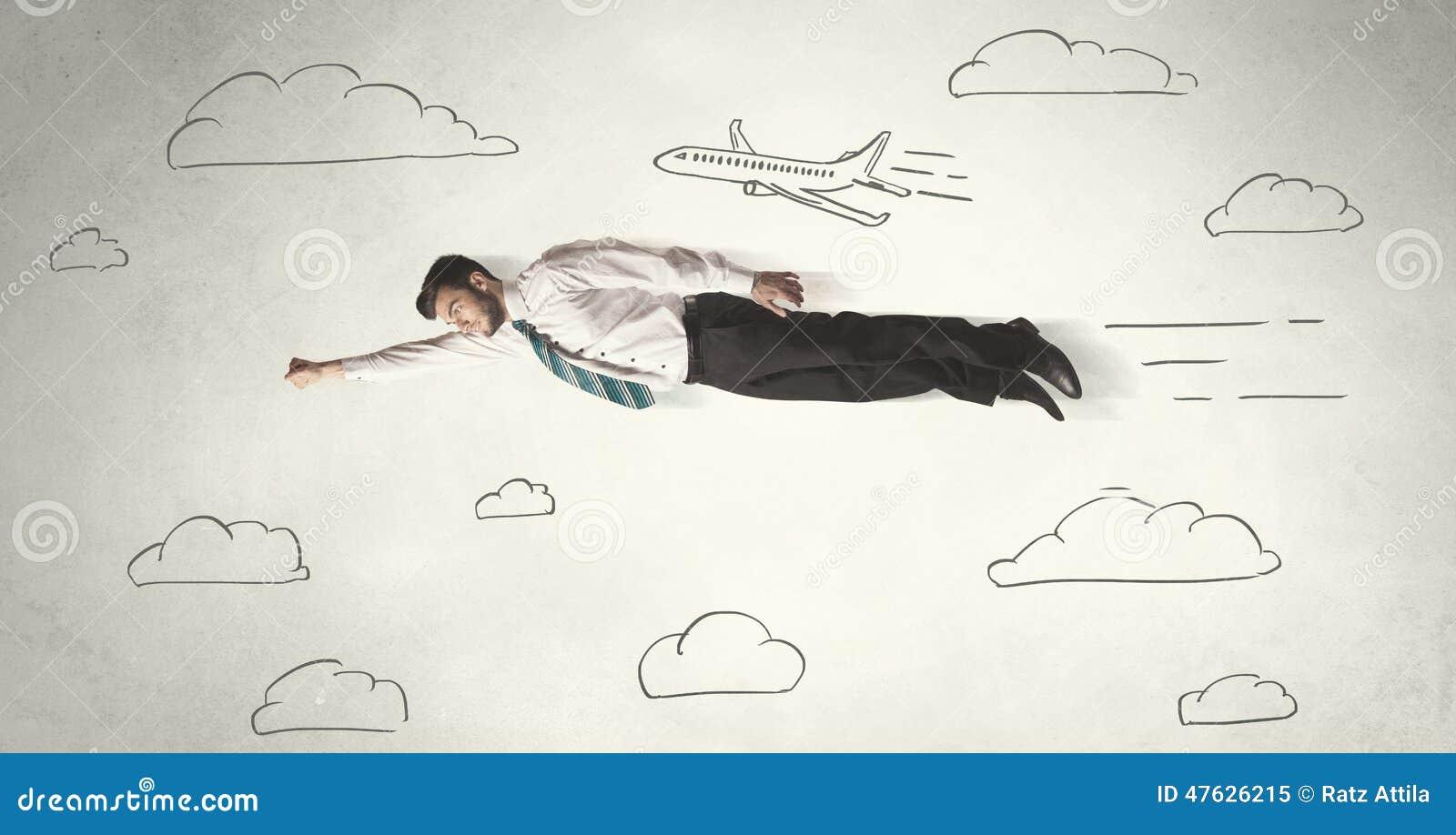 Жизнерадостное летание персоны дела между небом нарисованным рукой заволакивает