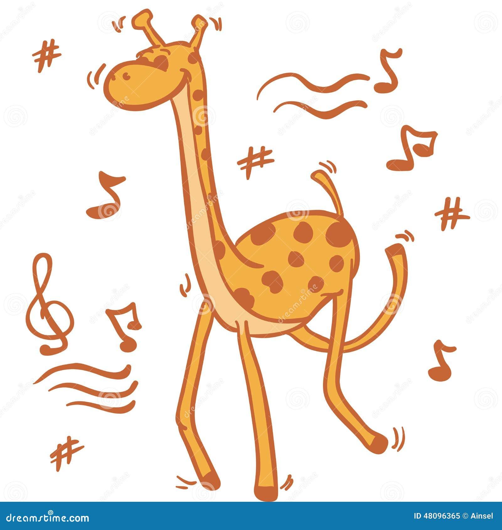 Открытка танцующий жираф
