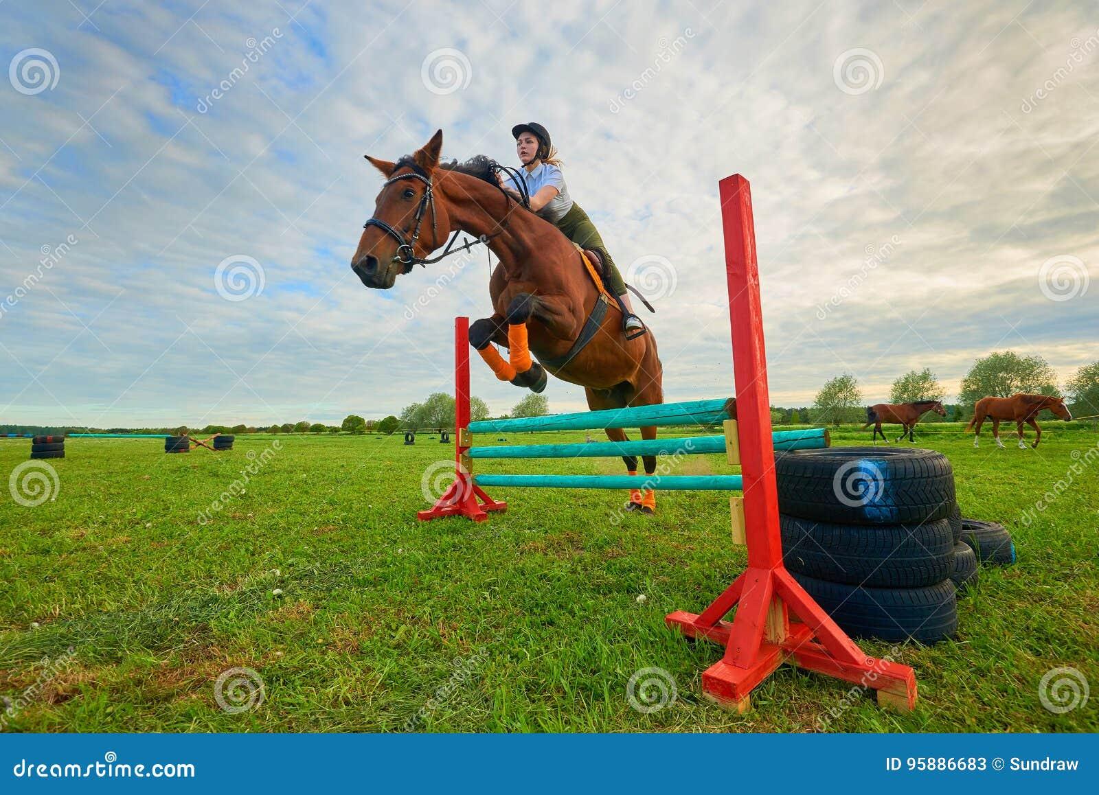 Жокей маленькой девочки и ее шлямбур лошади