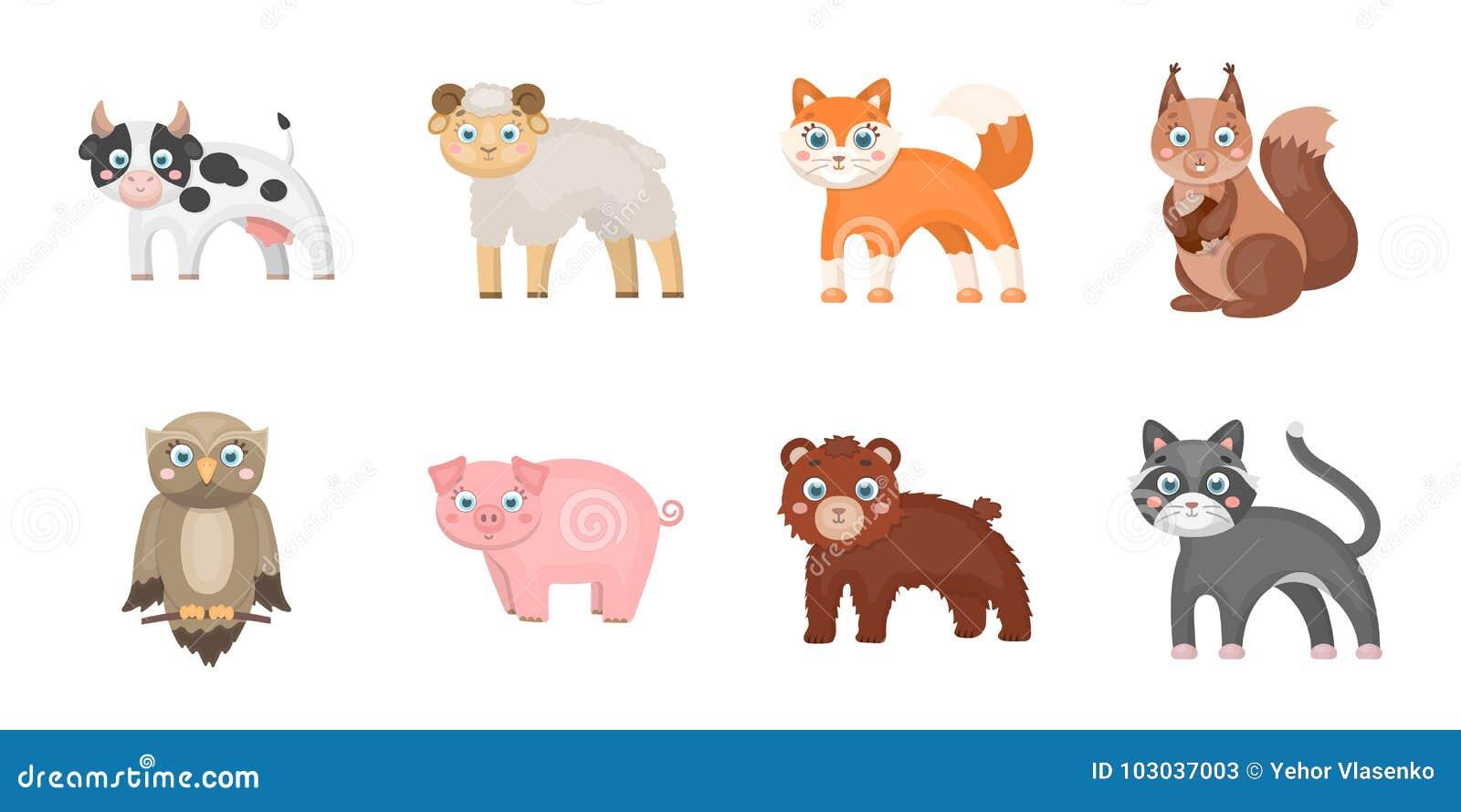 Забавляйтесь значки животных в собрании комплекта для дизайна