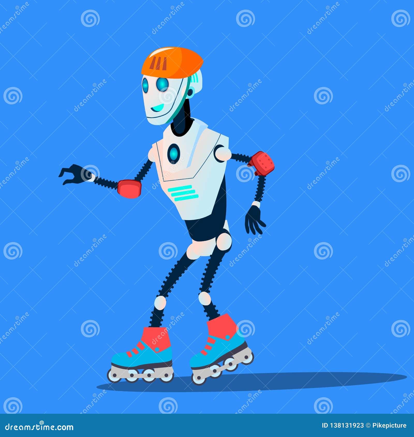 Завальцовка робота на векторе коньков ролика изолированная иллюстрация руки кнопки нажимающ женщину старта s