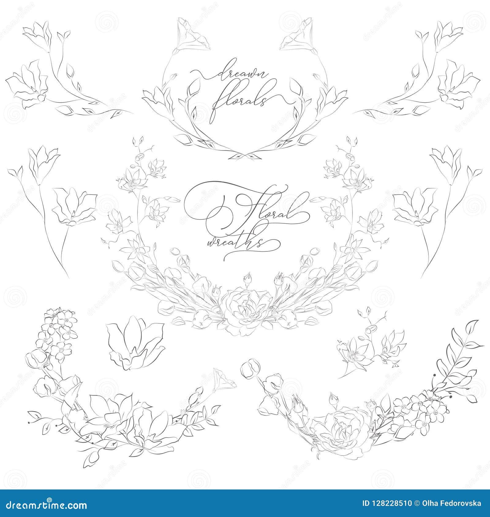 Заводы и цветки нарисованные вектором, венки, углы, ветви