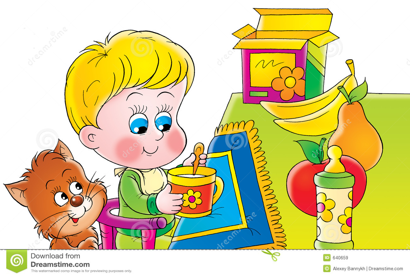 Download завтрак иллюстрация штока. иллюстрации насчитывающей девушка - 640659