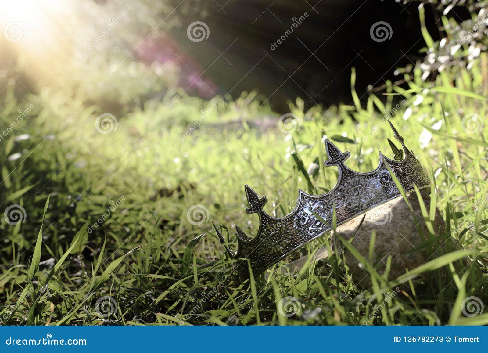 загадочное и волшебное фото кроны короля над камнем в ландшафте древесин или поля Англии со светлым пирофакелом средневеково