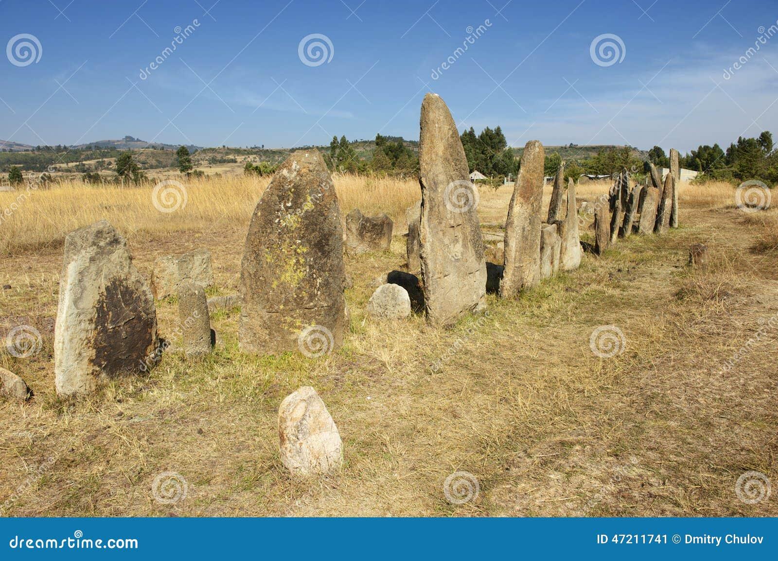 Загадочные megalithic штендеры Tiya, место всемирного наследия ЮНЕСКО, Эфиопия