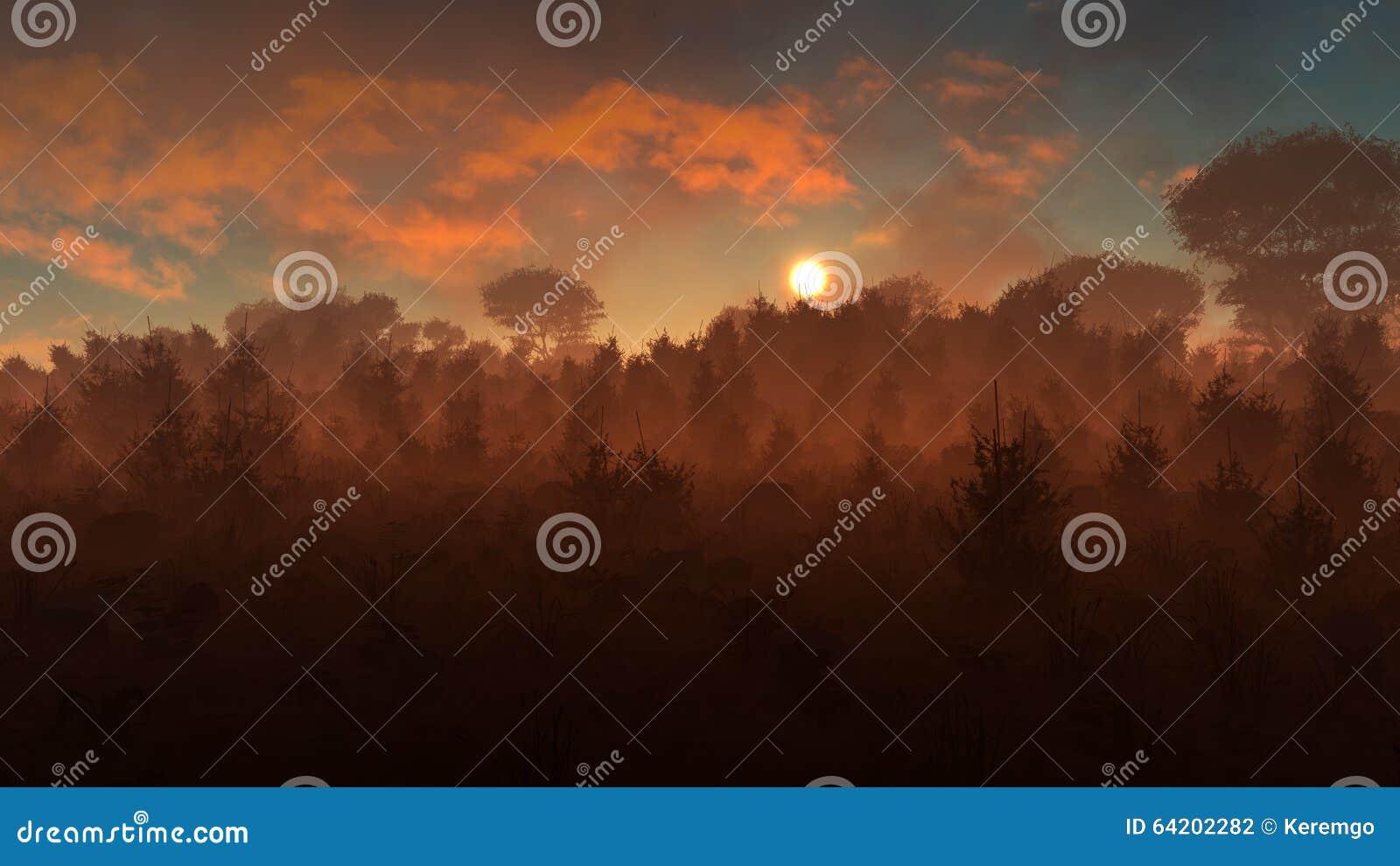 Загадочный заход солнца ландшафта