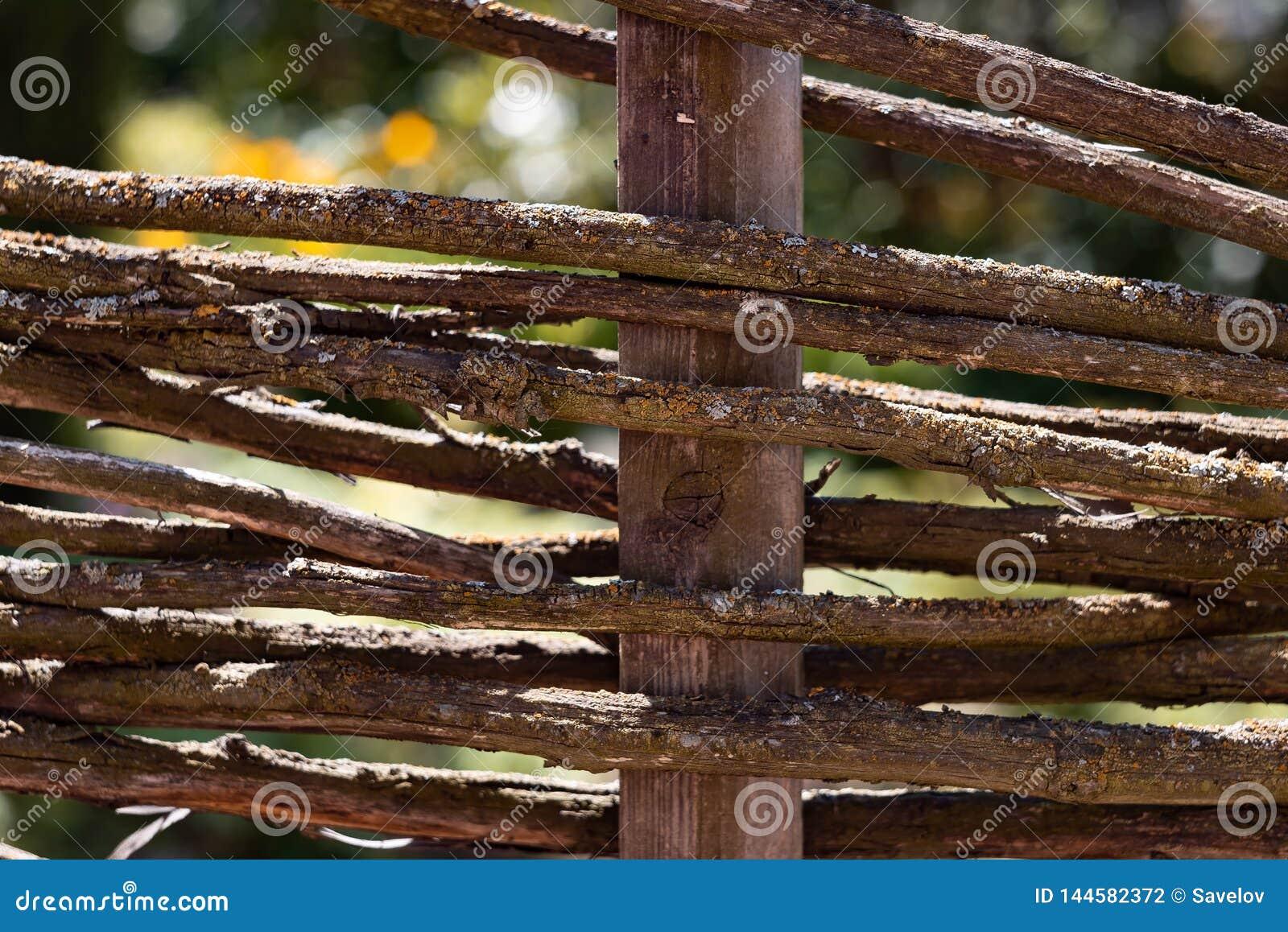Загородка сделанная из поляков с мхом