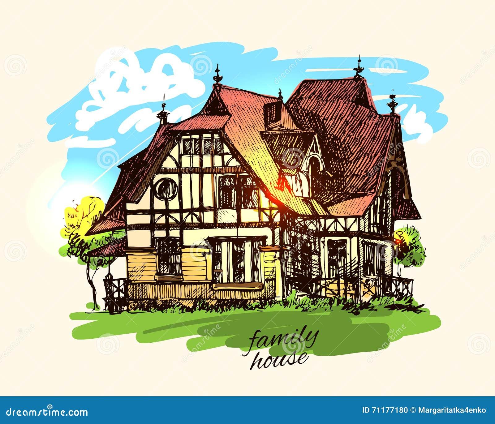 загородный дом иллюстрации