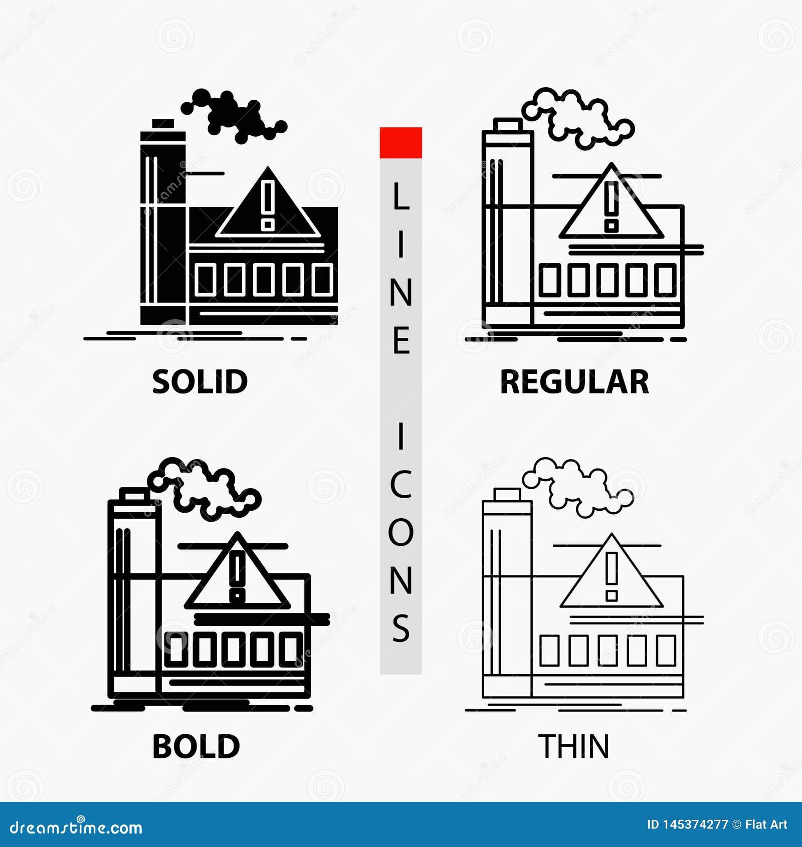 загрязнение, фабрика, воздух, сигнал тревоги, значок индустрии в тонких, регулярных, смелых линии и стиле глифа r
