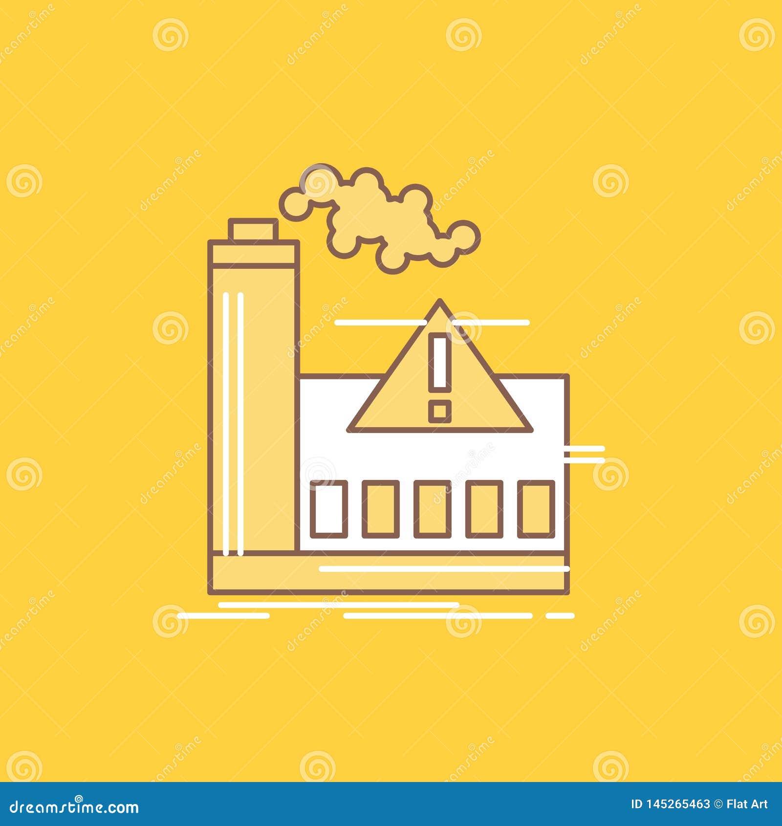 загрязнение, фабрика, воздух, сигнал тревоги, линия индустрии плоская заполнило значок Красивая кнопка логотипа над желтой предпо